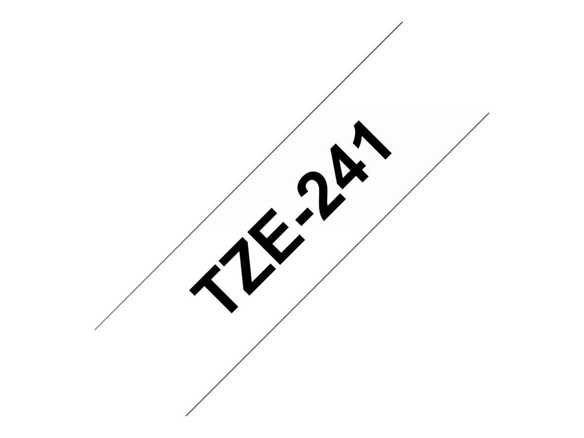 Brother TZe241 - Ruban d'étiquettes auto-adhésives - 1 rouleau (18 mm x 8 m) - fond blanc écriture noire