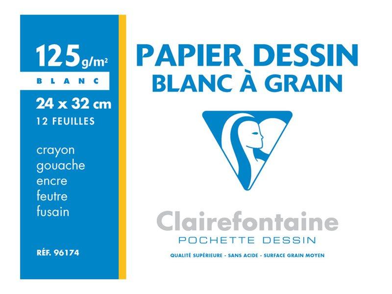 Clairefontaine - Dessin à Grain - pochette papier à dessin  - 12 feuilles - 24 x 32 cm - 125G - blanc