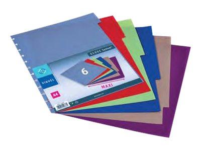 Viquel Geode - Intercalaire repositionnable 6 positions - A4 Maxi - polypropylène coloré