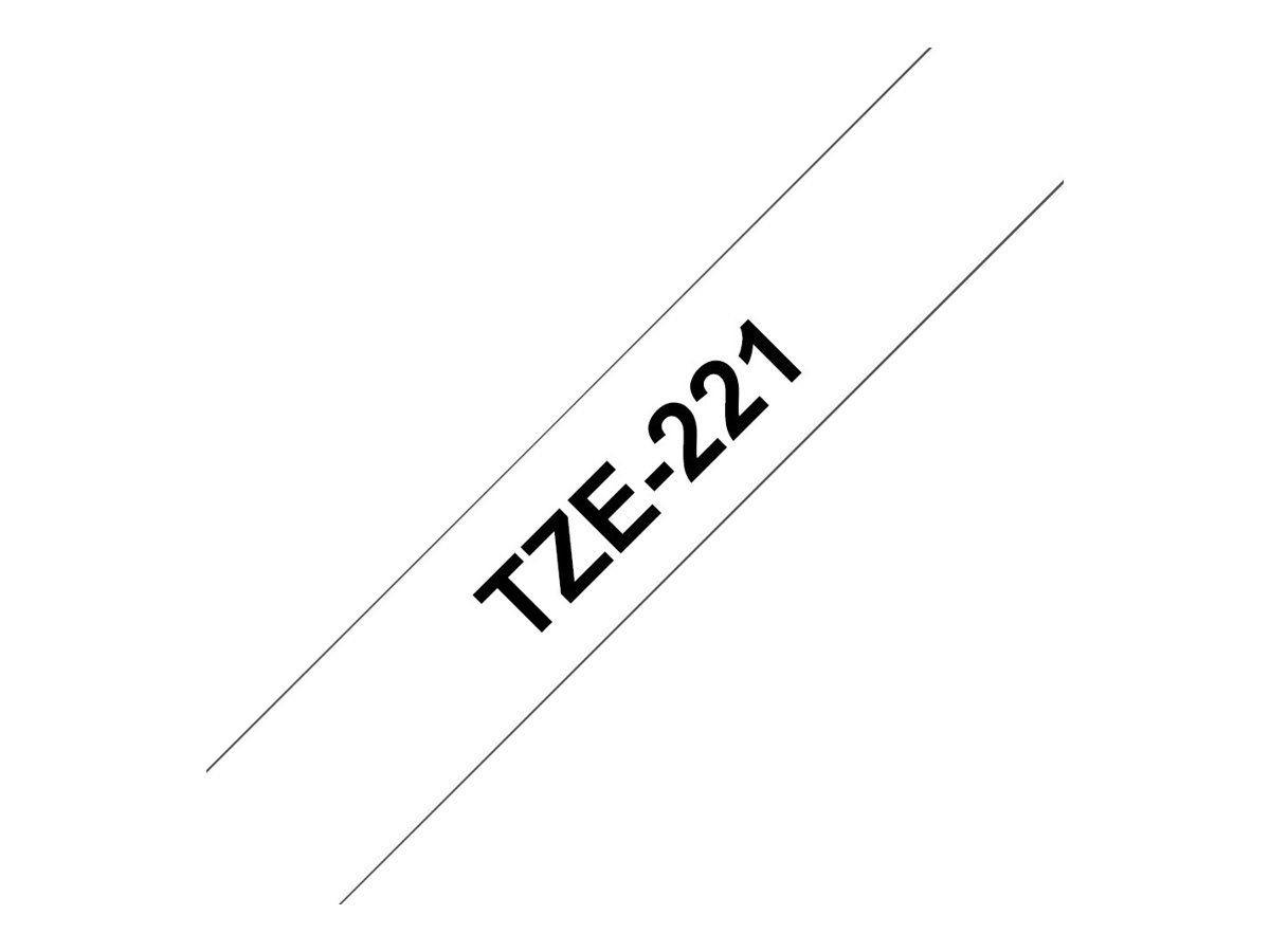 Brother TZe221 - Ruban d'étiquettes auto-adhésives - 1 rouleau (9 mm x 8 m) - fond blanc écriture noire