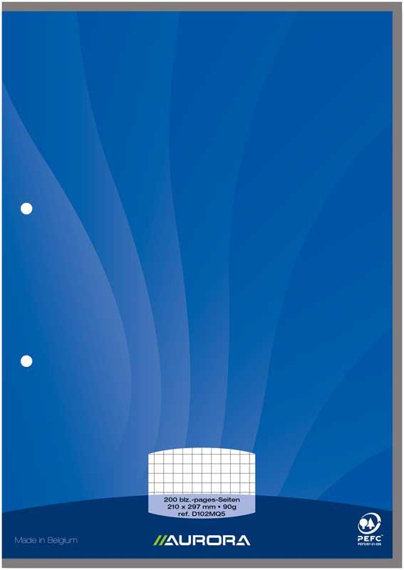 Aurora - Bloc de cours A4 - petits carreaux avec marge - 200 pages - perforation 2 trous