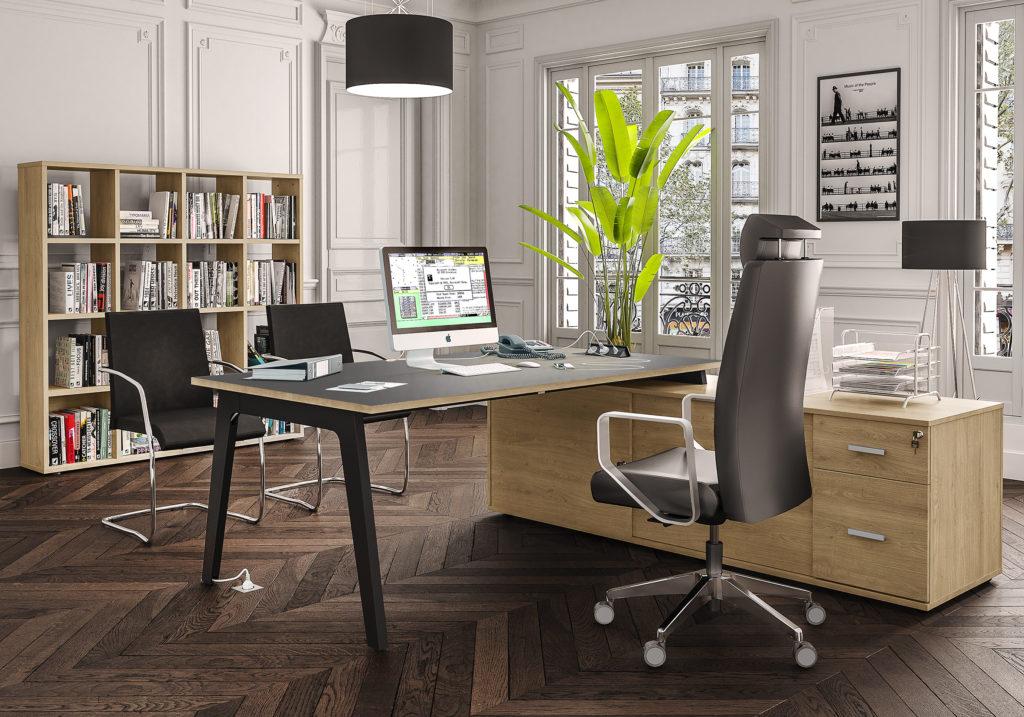 Bureau STEELY Manager - L180 x P100 x H72,5 cm - console retour à droite (tiroirs) L200 x P60 x H72,5 cm - pieds blanc - plateau imitation chêne gris