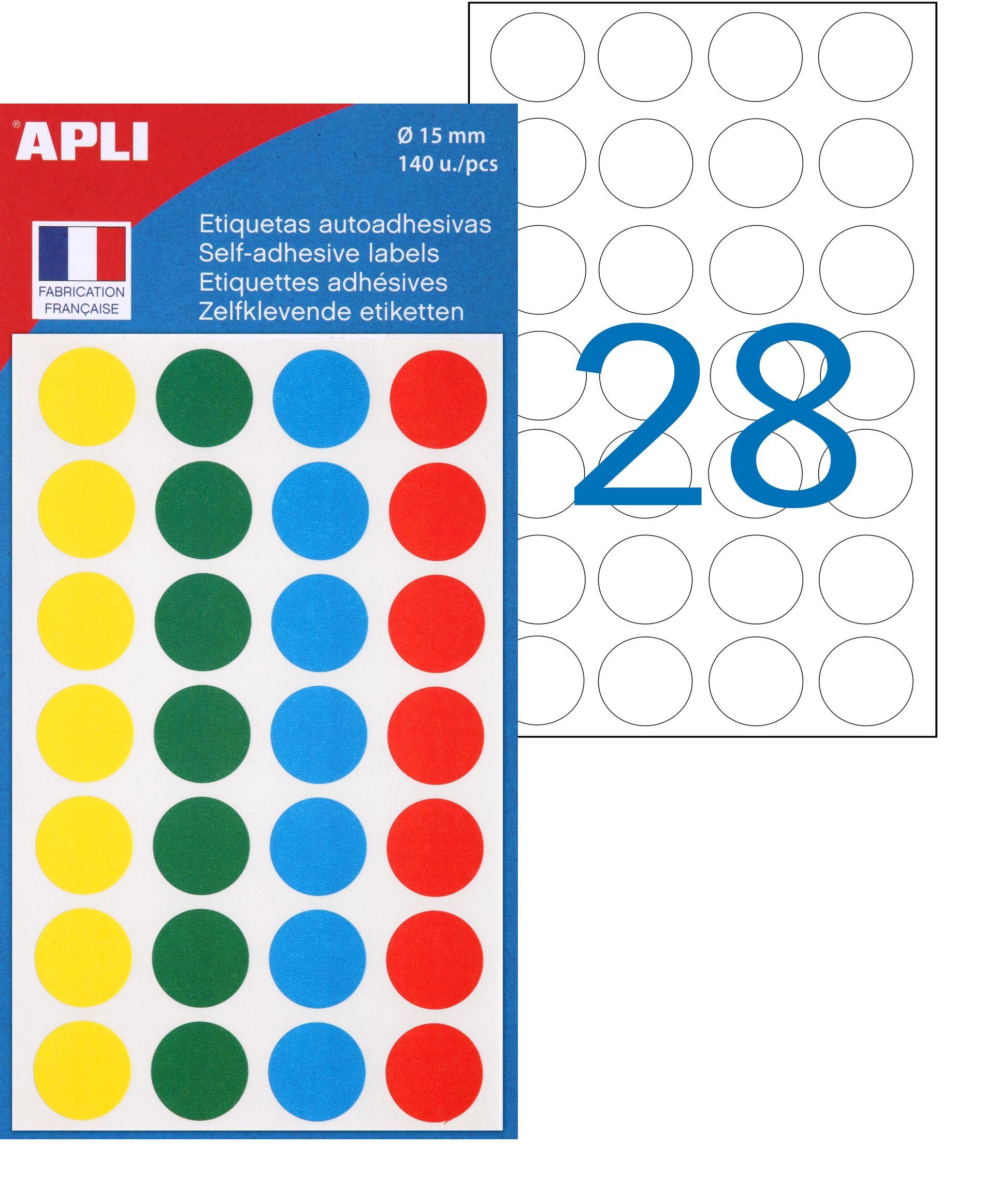 Apli Agipa - 140 Pastilles couleur assorties - diamètre 15 mm - réf 100625