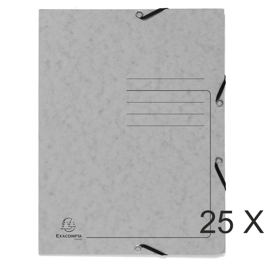 Exacompta - 25 Chemises à 3 rabats imprimées - A4 - gris