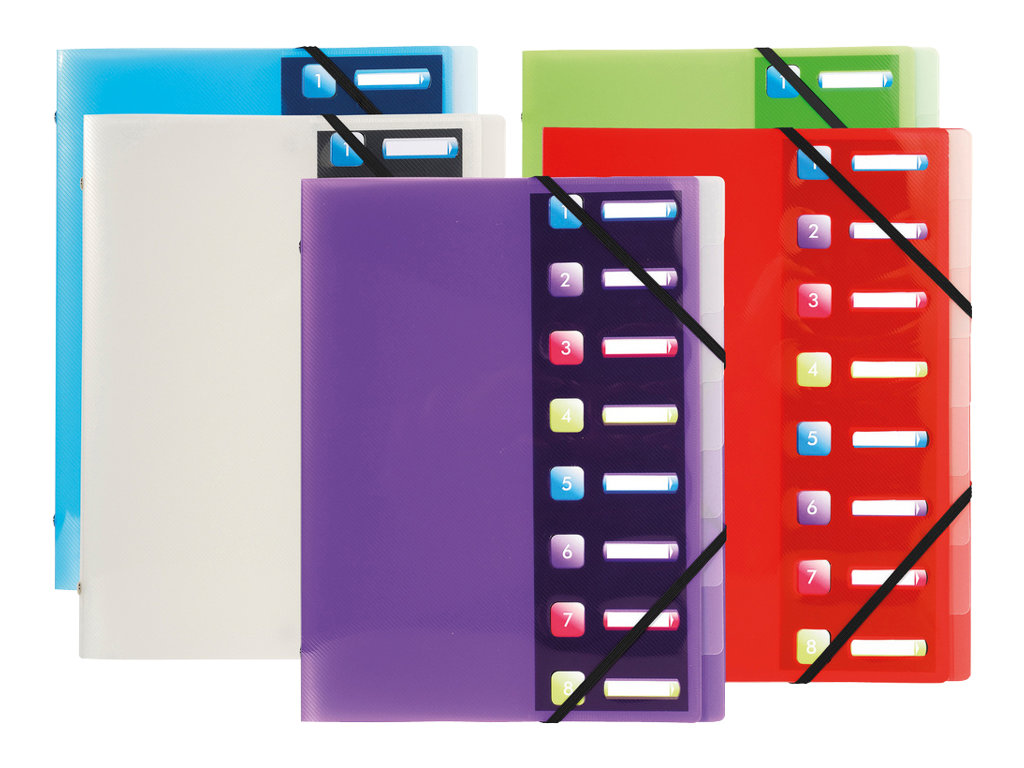 Exacompta Crystal - Trieur polypro 8 positions - différents coloris disponibles