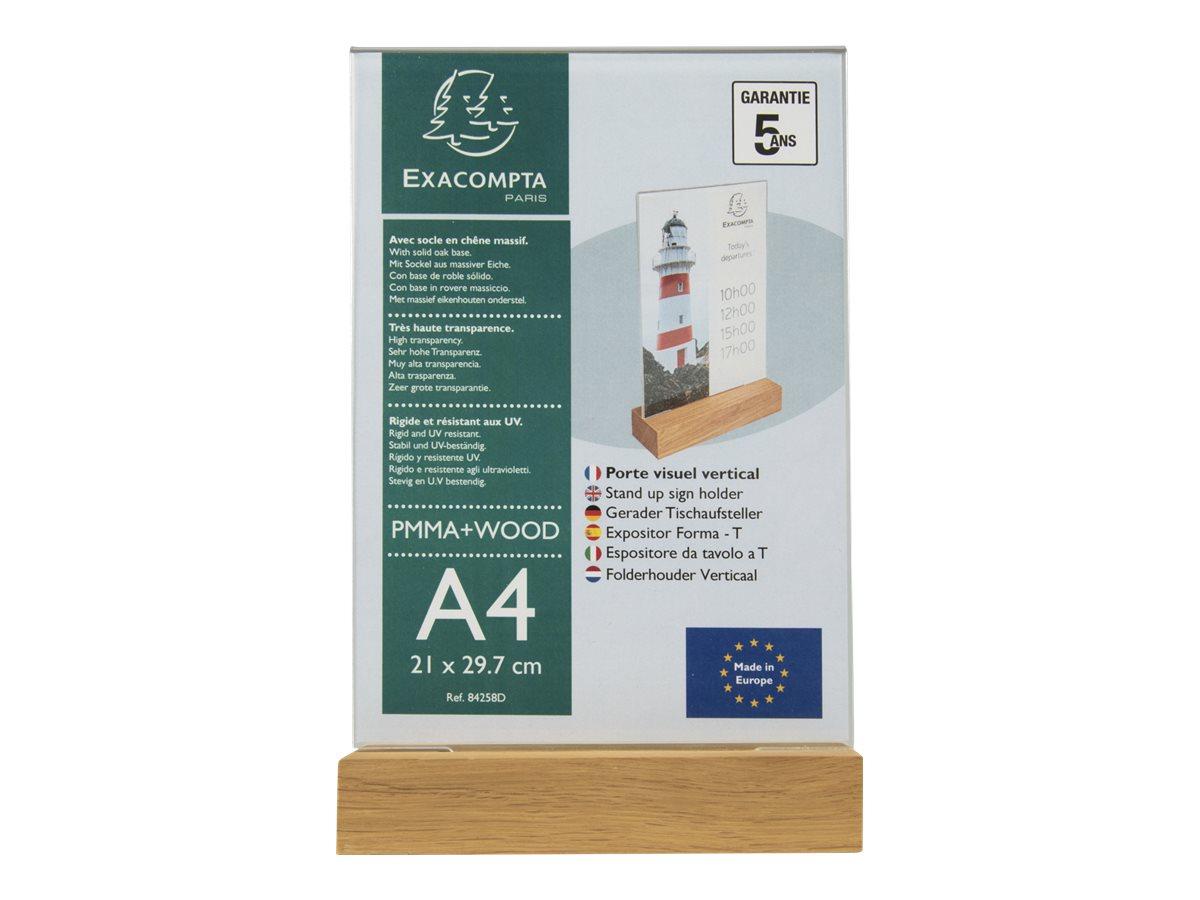 Exacompta - Porte-visuel avec socle en bois - A4 vertical - double face