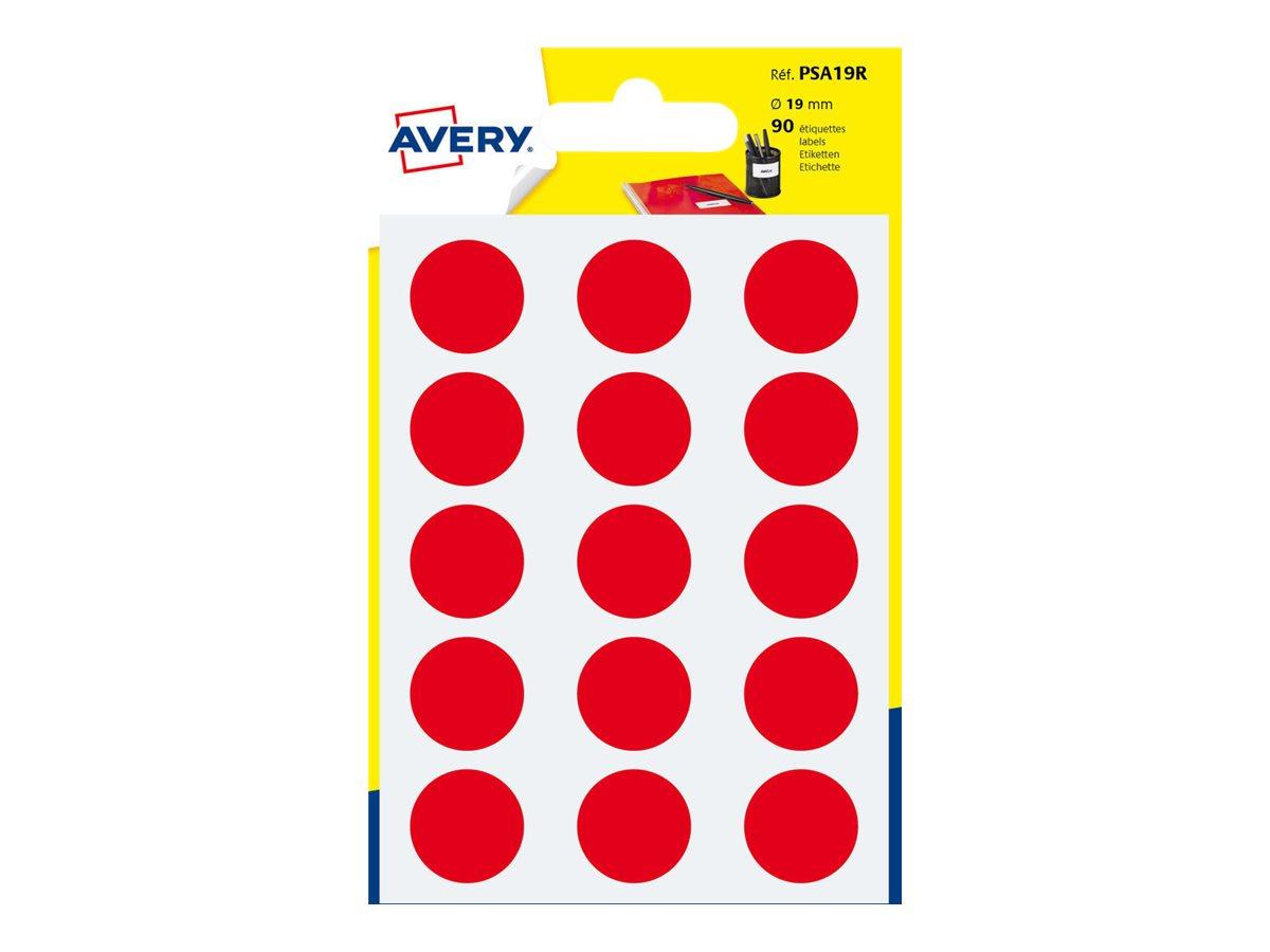 Avery - 90 Pastilles adhésives - rouge - diamètre 19 mm
