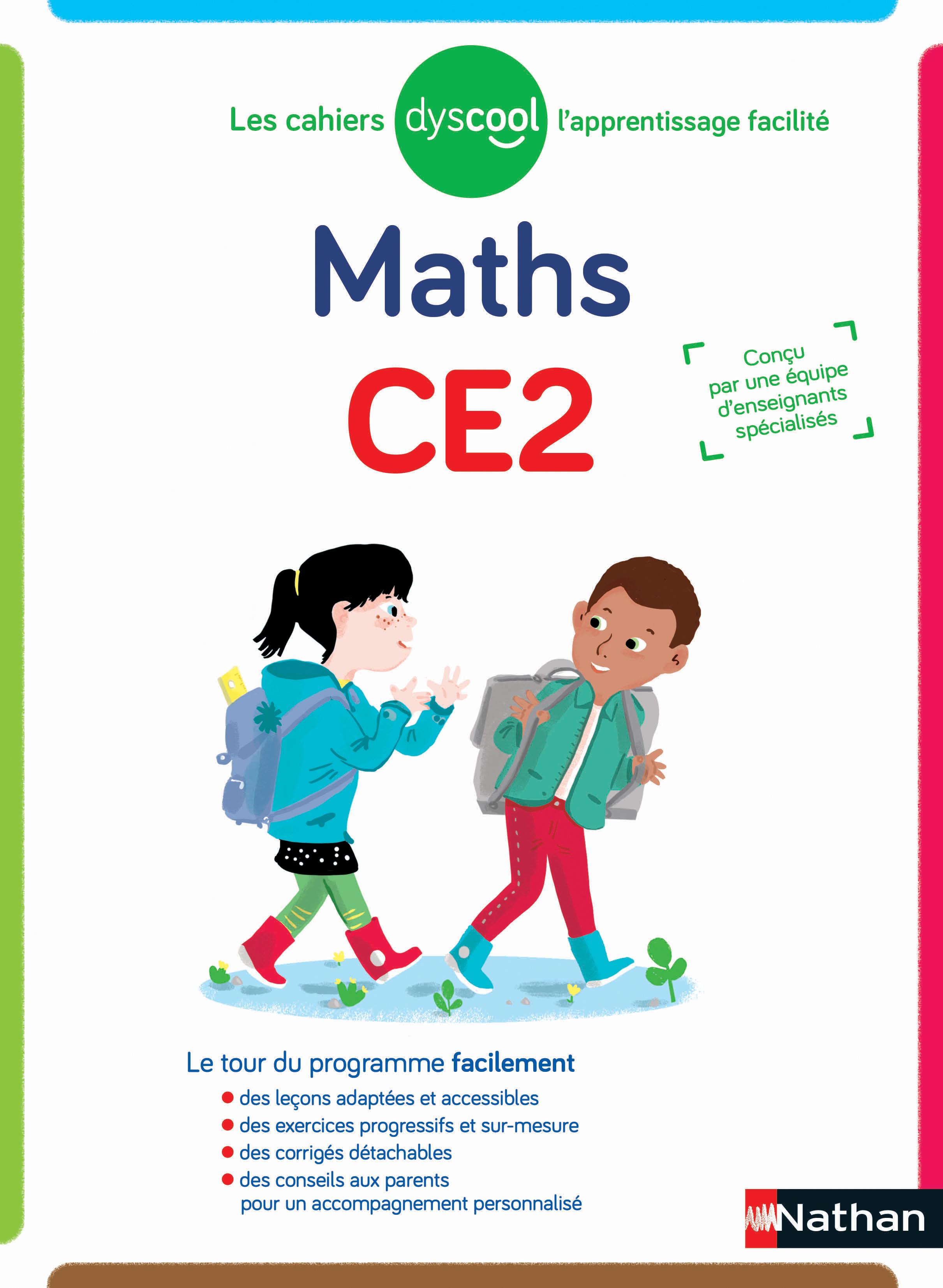 Dyscool - Cahier de maths CE2 - adapté aux enfants dys ou en difficulté