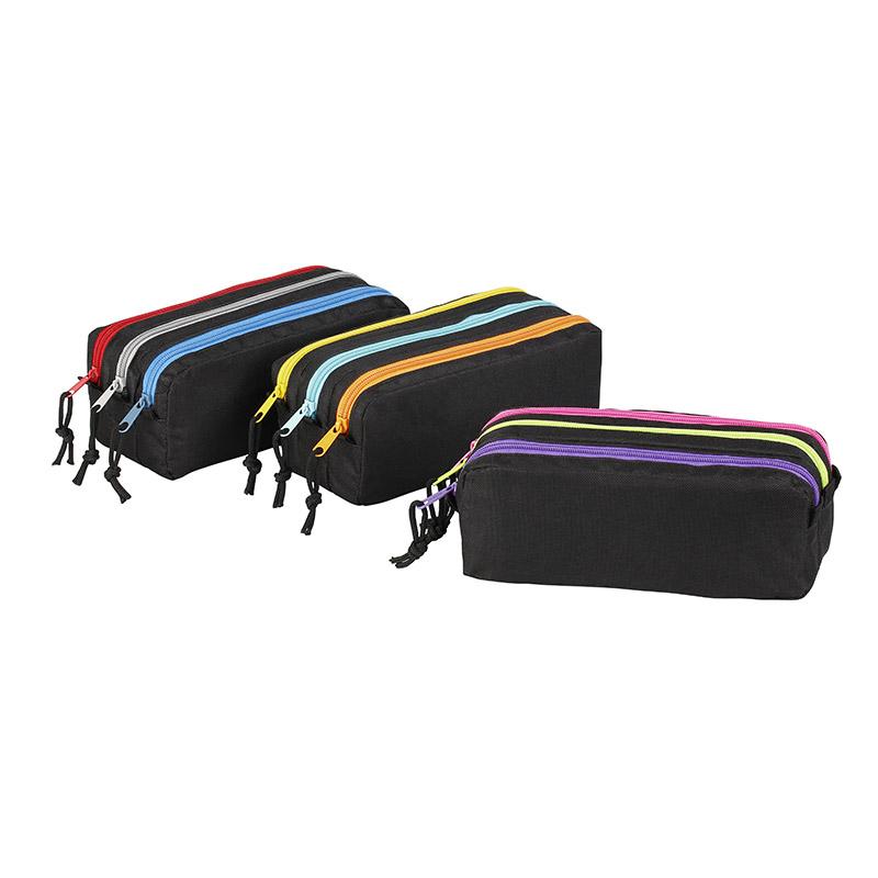 Trousse rectangulaire Trizip tricolore - 3 compartiments - disponible dans différentes couleurs - Exclusivité Bureau Vallée - Viquel