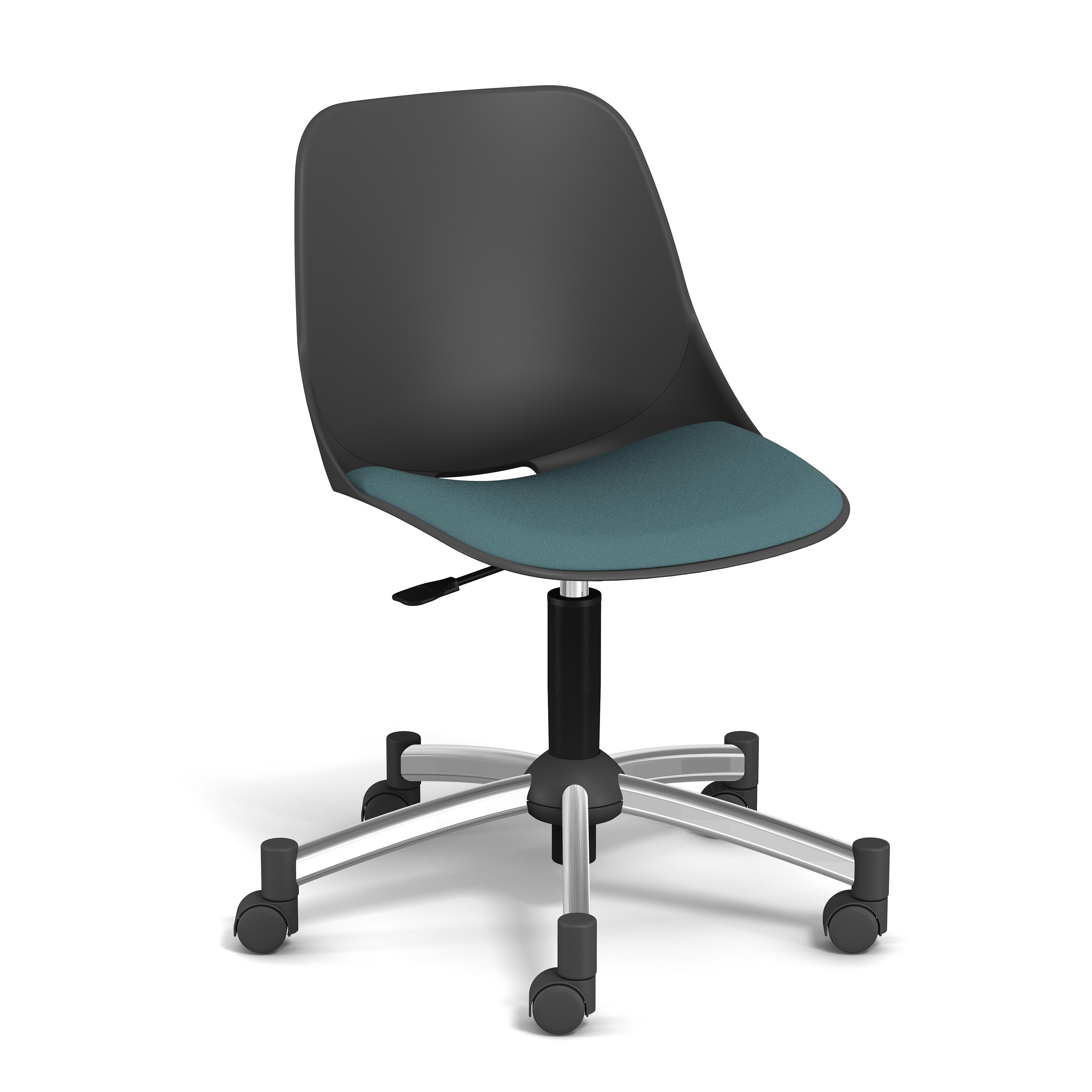 Chaise PALM - coque noire - assise vert - base chromé