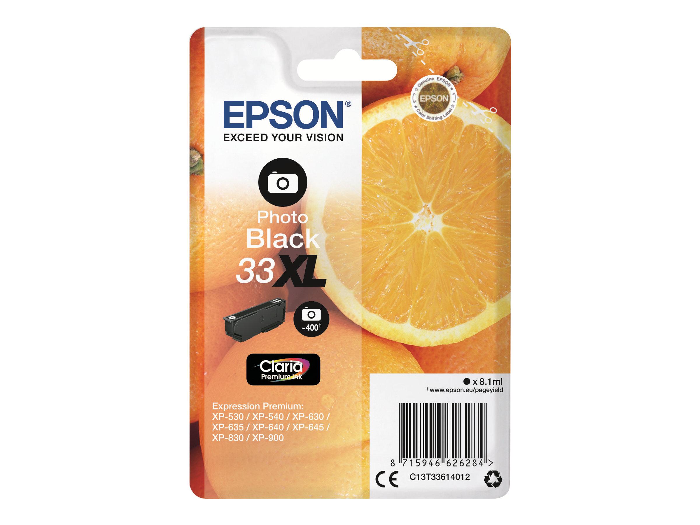 Epson 33XL Oranges - noir photo - cartouche d'encre originale