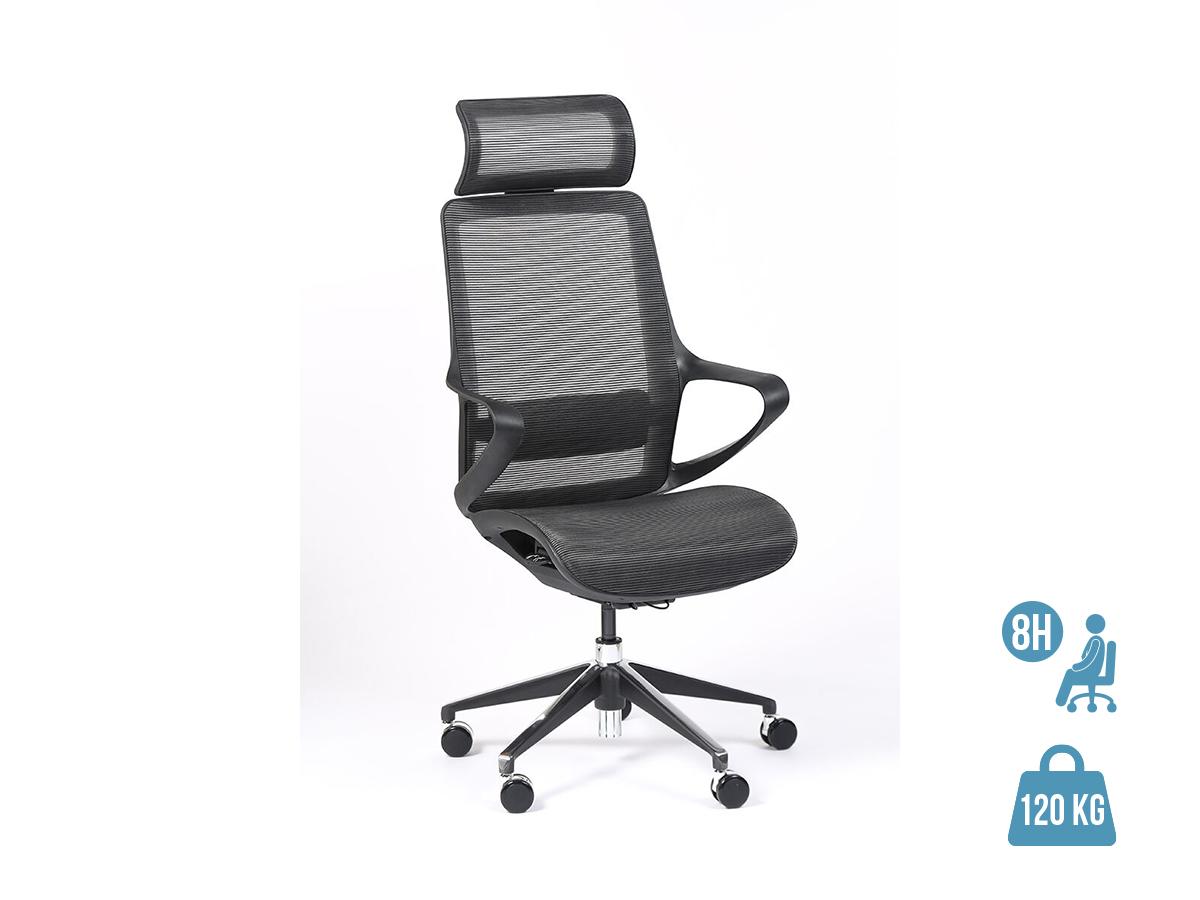 Fauteuil de bureau ergonomique ELVIRA - accoudoirs fixes - appuie-tête fixe - noir