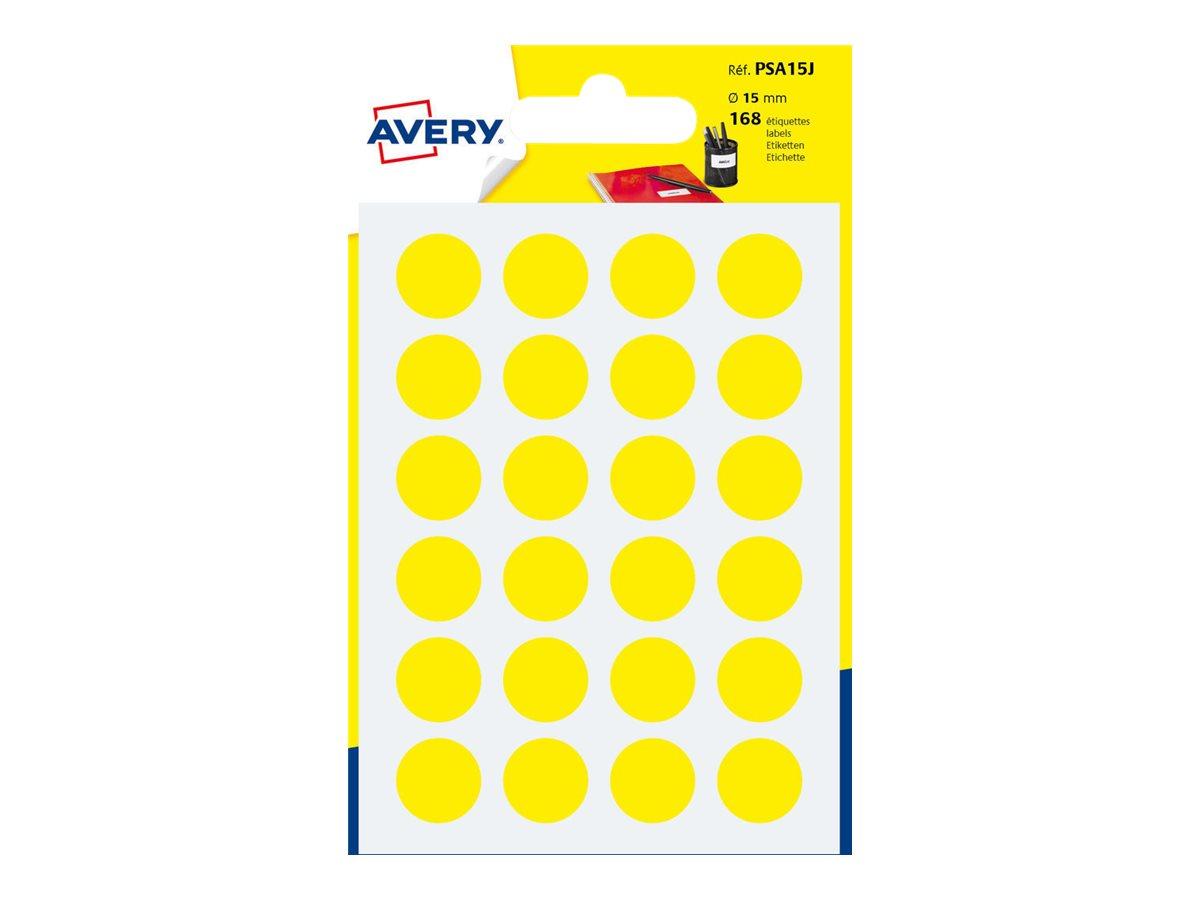 Avery - 168 Pastilles adhésives - jaune - diamètre 15 mm