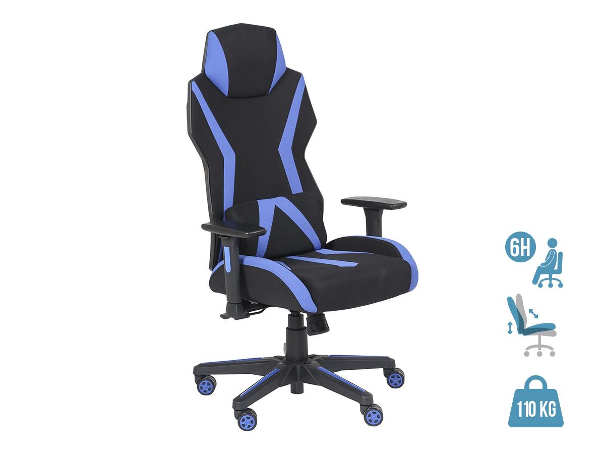 Fauteuil gamer POPER-T - accoudoirs réglables - Noir et bleu