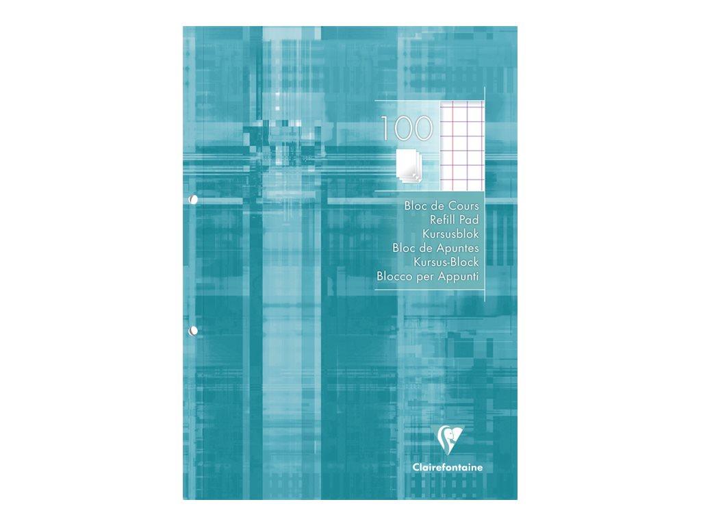 Clairefontaine - Bloc de cours A4 - perforé 2 trous - 200 pages - carreaux 10x10 avec marge