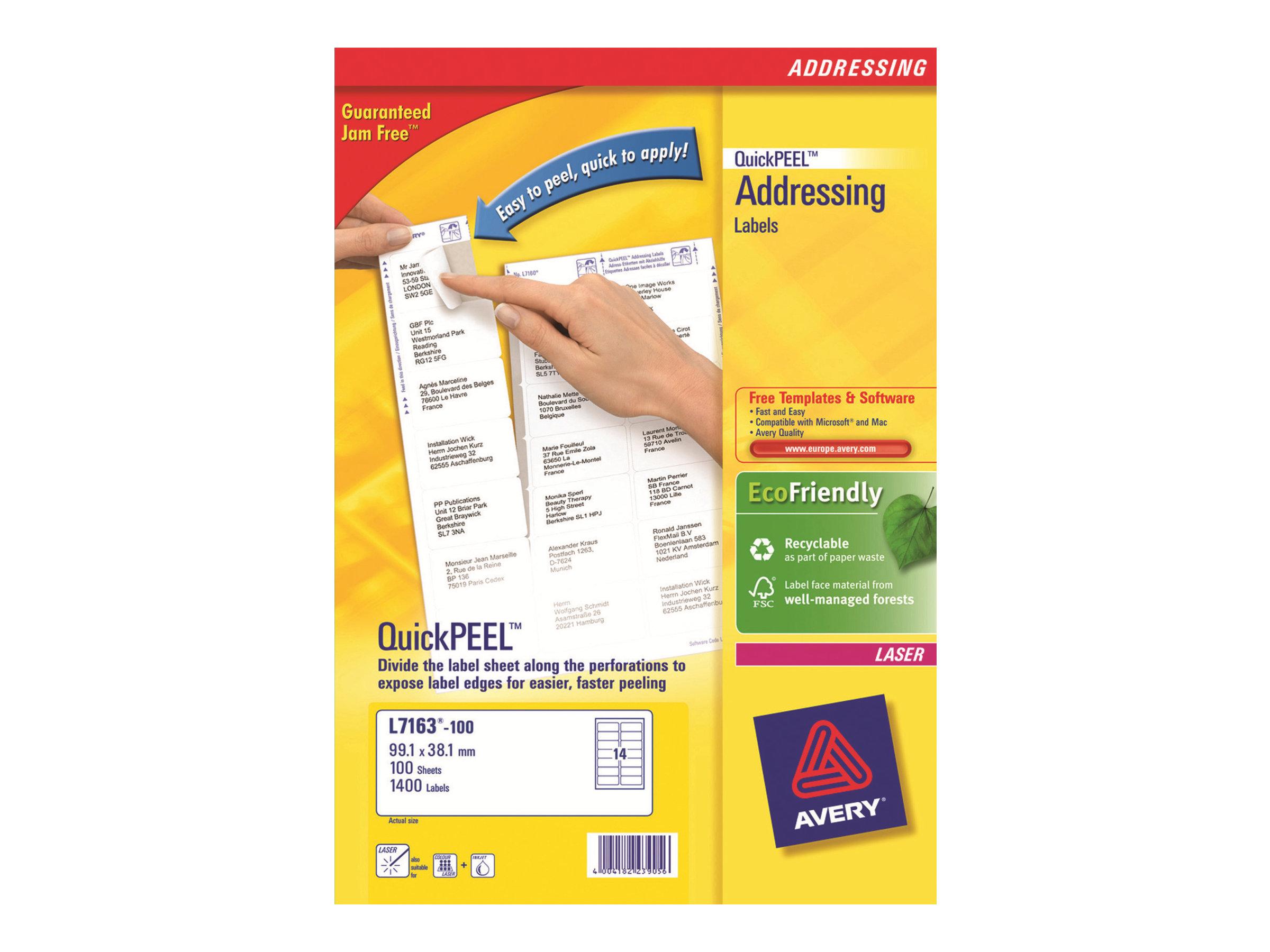 Avery - 1400 Étiquettes adresse recyclées blanches - 38,1 x 99,1 mm - Impression laser - réf LR7163-100