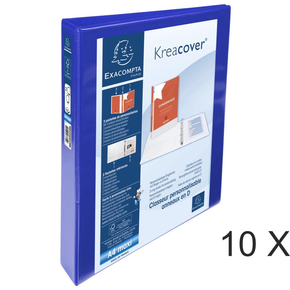 Exacompta Kreacover - 10 Classeurs 2 anneaux personnalisable - Dos 47 mm - A4 Maxi - bleu - 3 poches extérieures