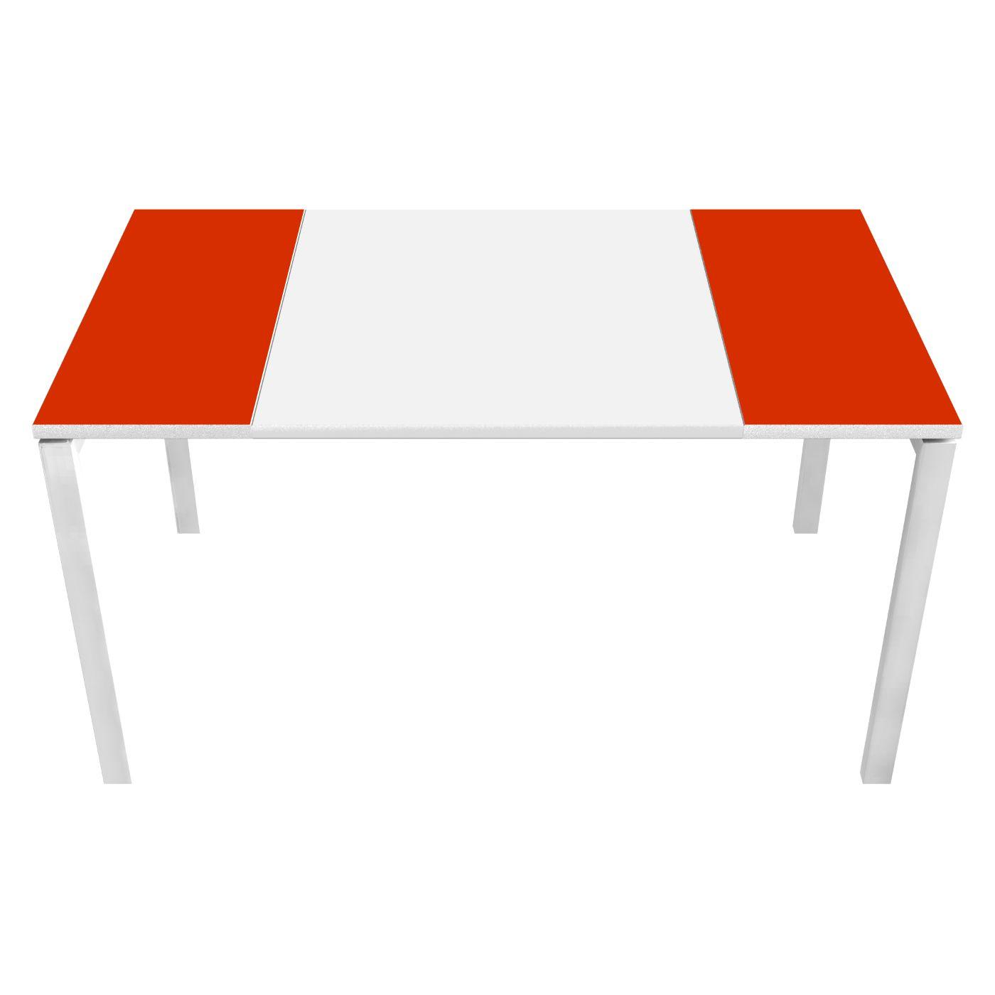 Table de réunion EASYDESK - L150 x P114 x H75 cm - blanc/rouge