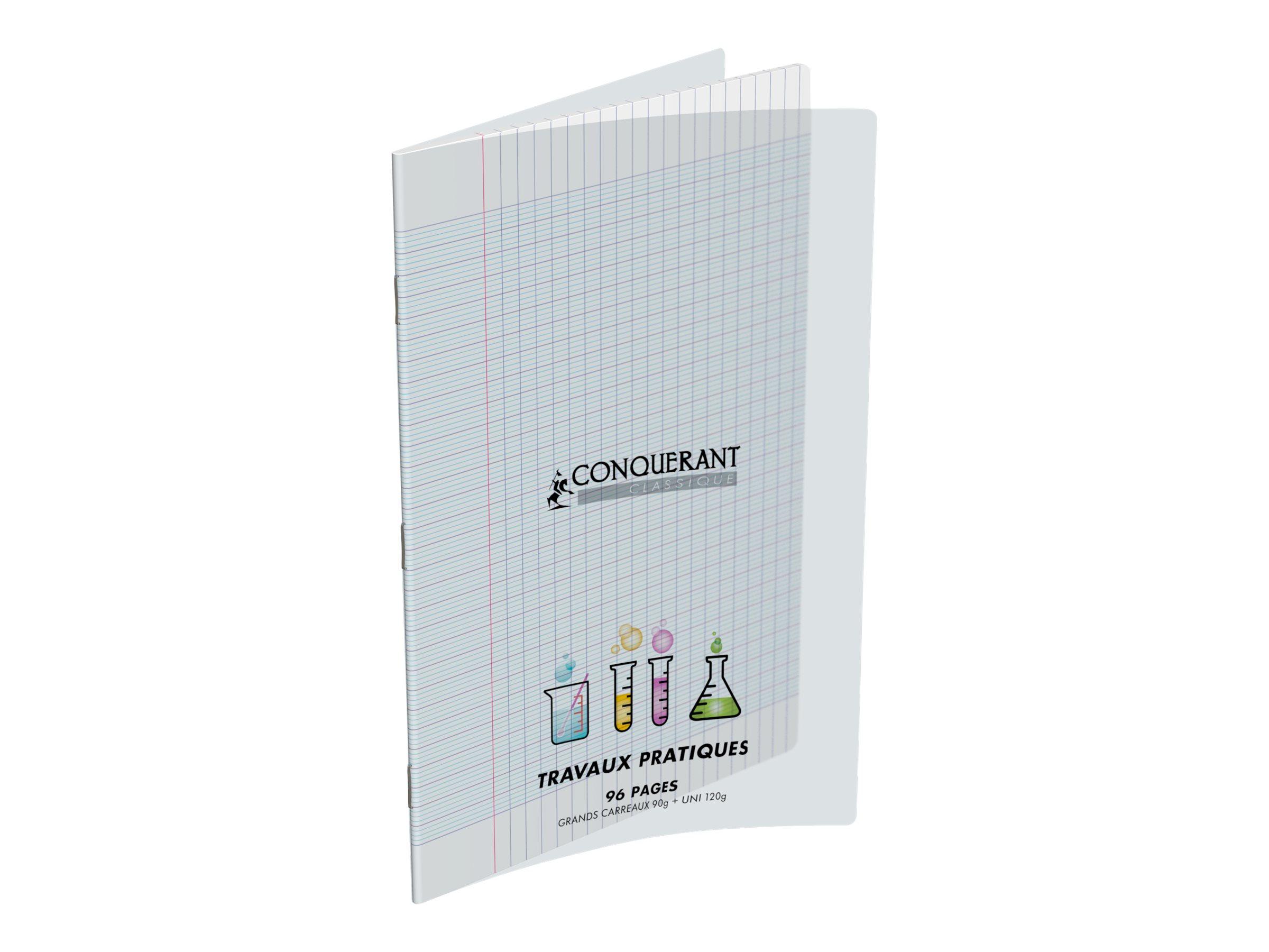 Conquérant Classique - Cahier polypro de travaux pratiques (TP) - A4 (21x29,7 cm) - 96 pages - grands carreaux (Seyes)/uni - transparent