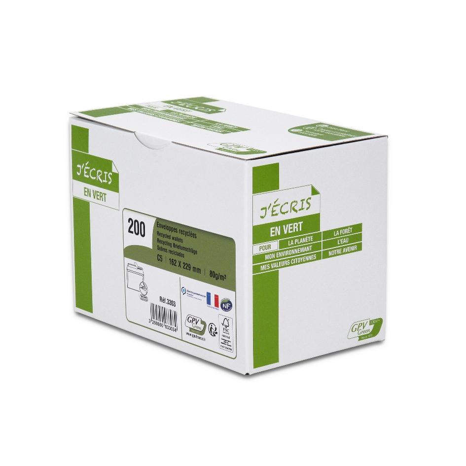 GPV Green - 200 Enveloppes recyclées C5 162 x 229 mm - 80 gr - sans fenêtre - blanc - bande adhésive ouverture rapide