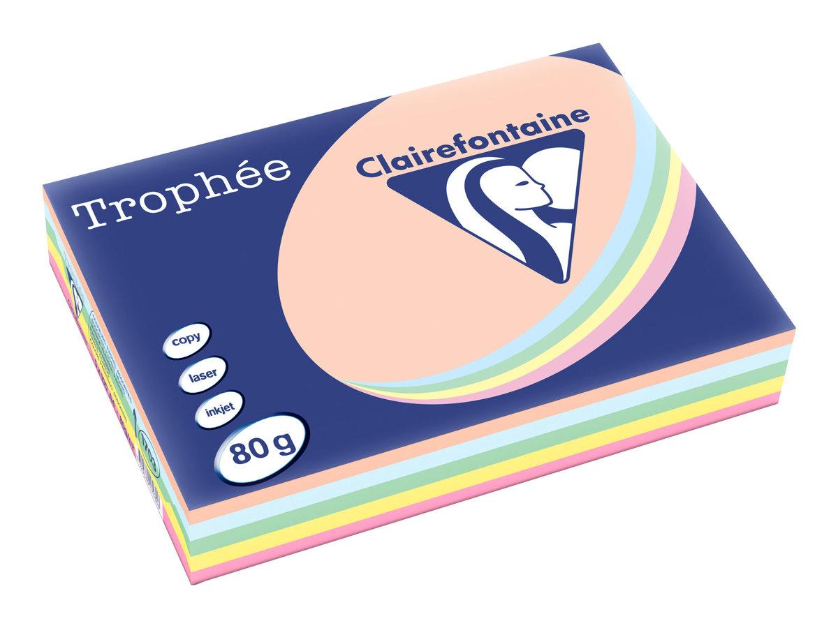 Clairefontaine Trophée - Papier couleur - A4 (210 x 297 mm) - 80 g/m² - 500 feuilles - coloris pastels assortis