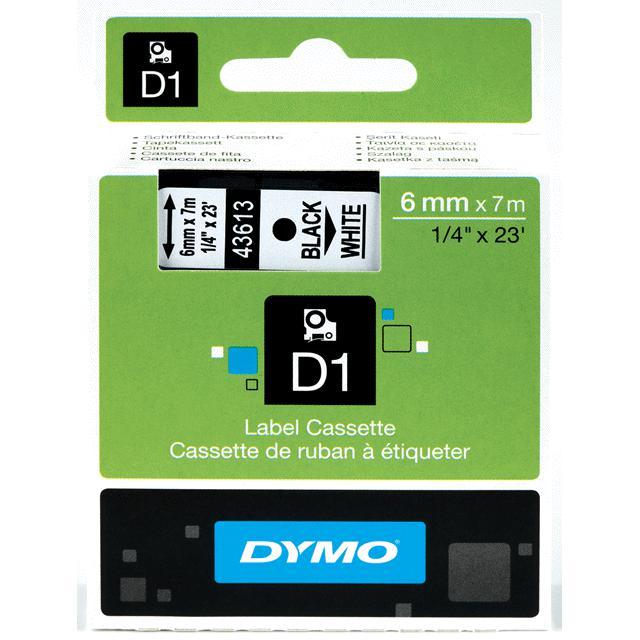 Dymo D1 - Ruban d'étiquettes auto-adhésives - 1 rouleau (6 mm x 7 m) - fond blanc écriture noire
