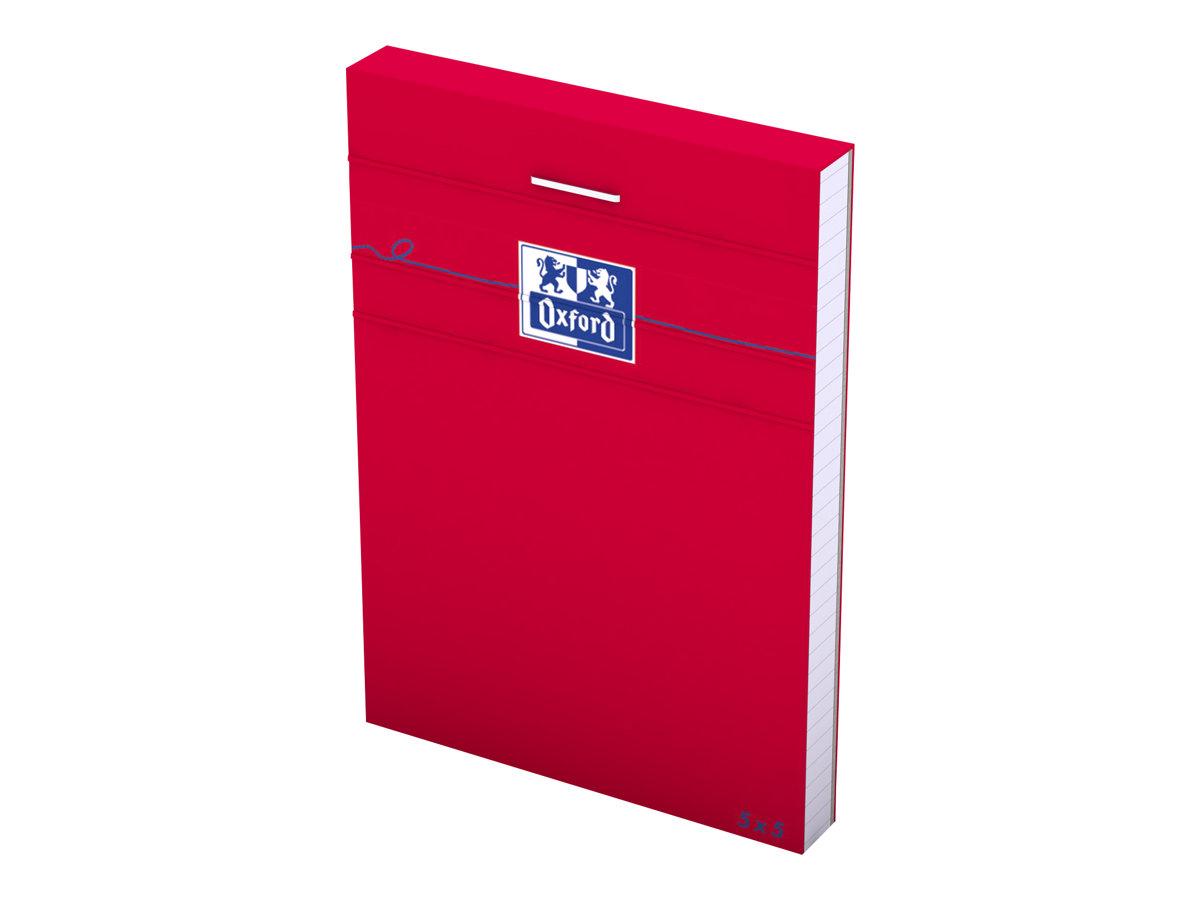 Oxford - Bloc notes - A7 - 160 pages - petits carreaux - 80G - rouge