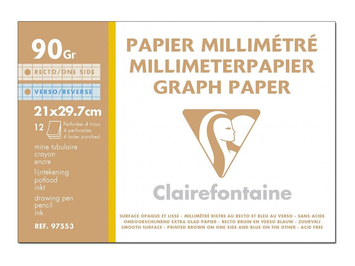 Clairefontaine - Pochette papier à dessin millimétré - 12 feuilles - A4 - 90G