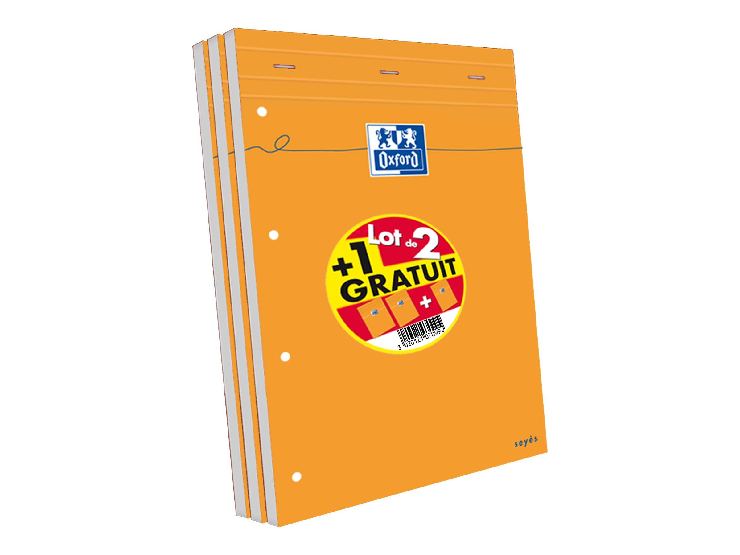 Oxford - Pack de 3 Blocs notes - A4 + - 160 pages - grands carreaux - perforés