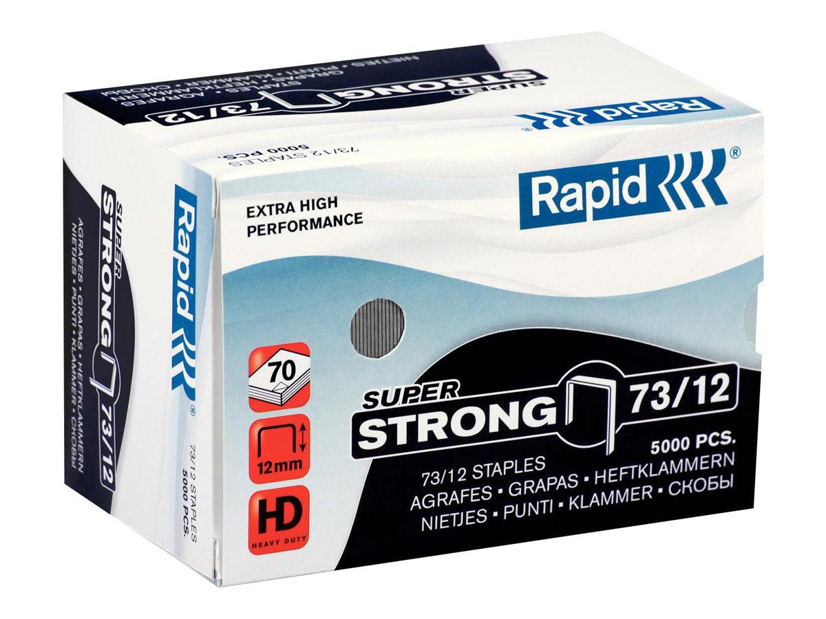 Rapid - Boîte de 5000 Agrafes Super Strong 73/12 - jusqu'à 70 feuilles - acier galvanisé