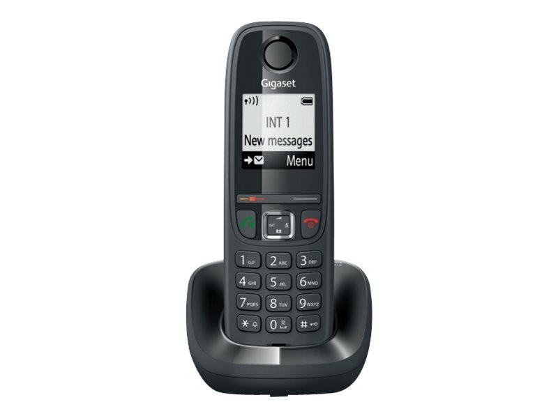Gigaset AS470 Trio - téléphone sans fil + 2 combinés supplémentaires - noir