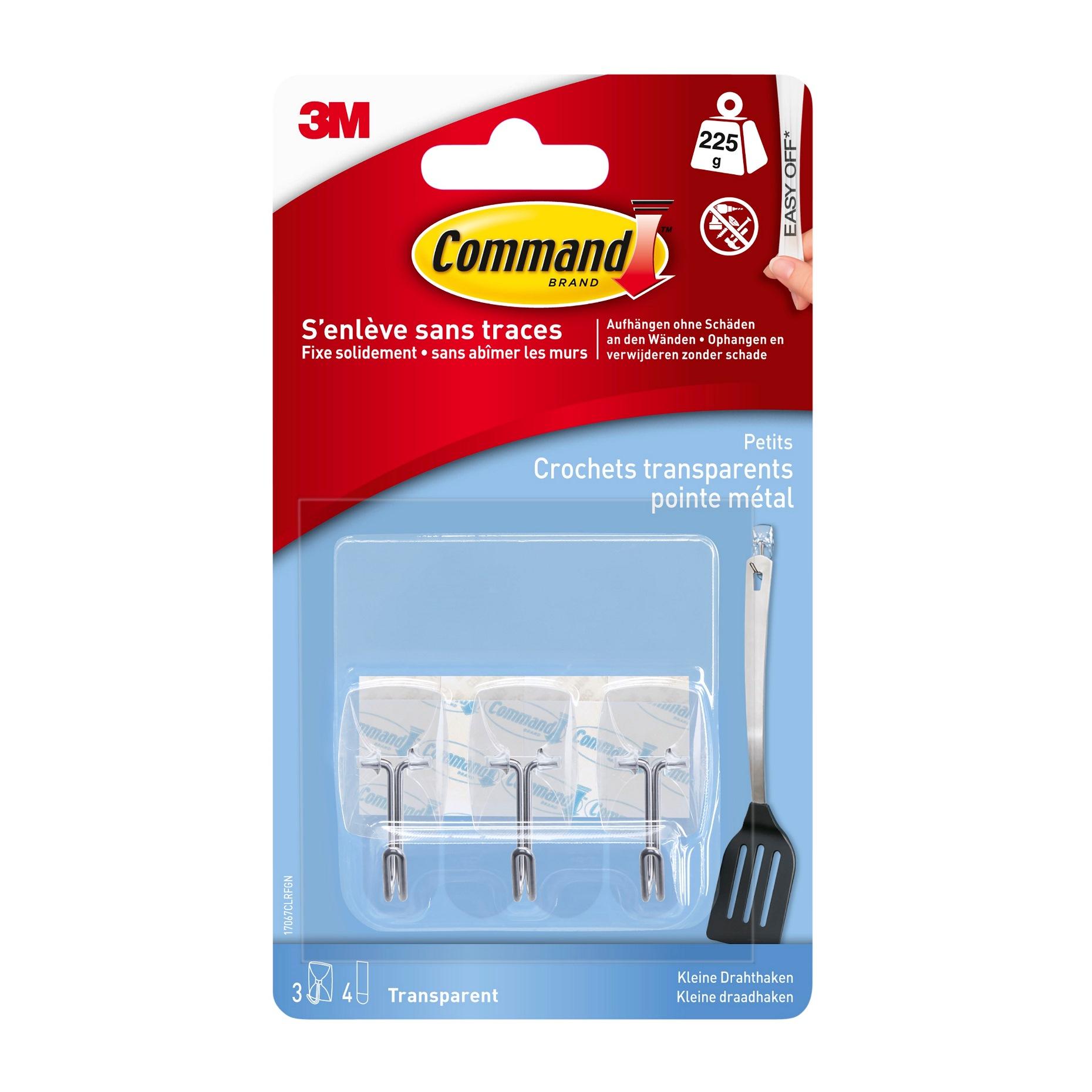 Command -  Pack de 3 crochets et 4 languettes pointe métal - transparent