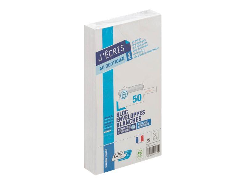 GPV - 50 Enveloppes précasées DL 110 x 220 mm - blanc - bande auto-adhésive
