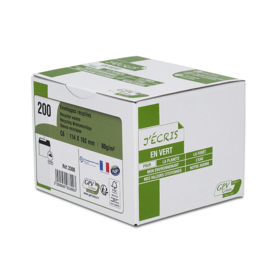 GPV Green - 200 Enveloppes recyclées C6 114 x 162 mm - 80 gr - fenêtre 45x100 mm - blanc - bande adhésive ouverture rapide