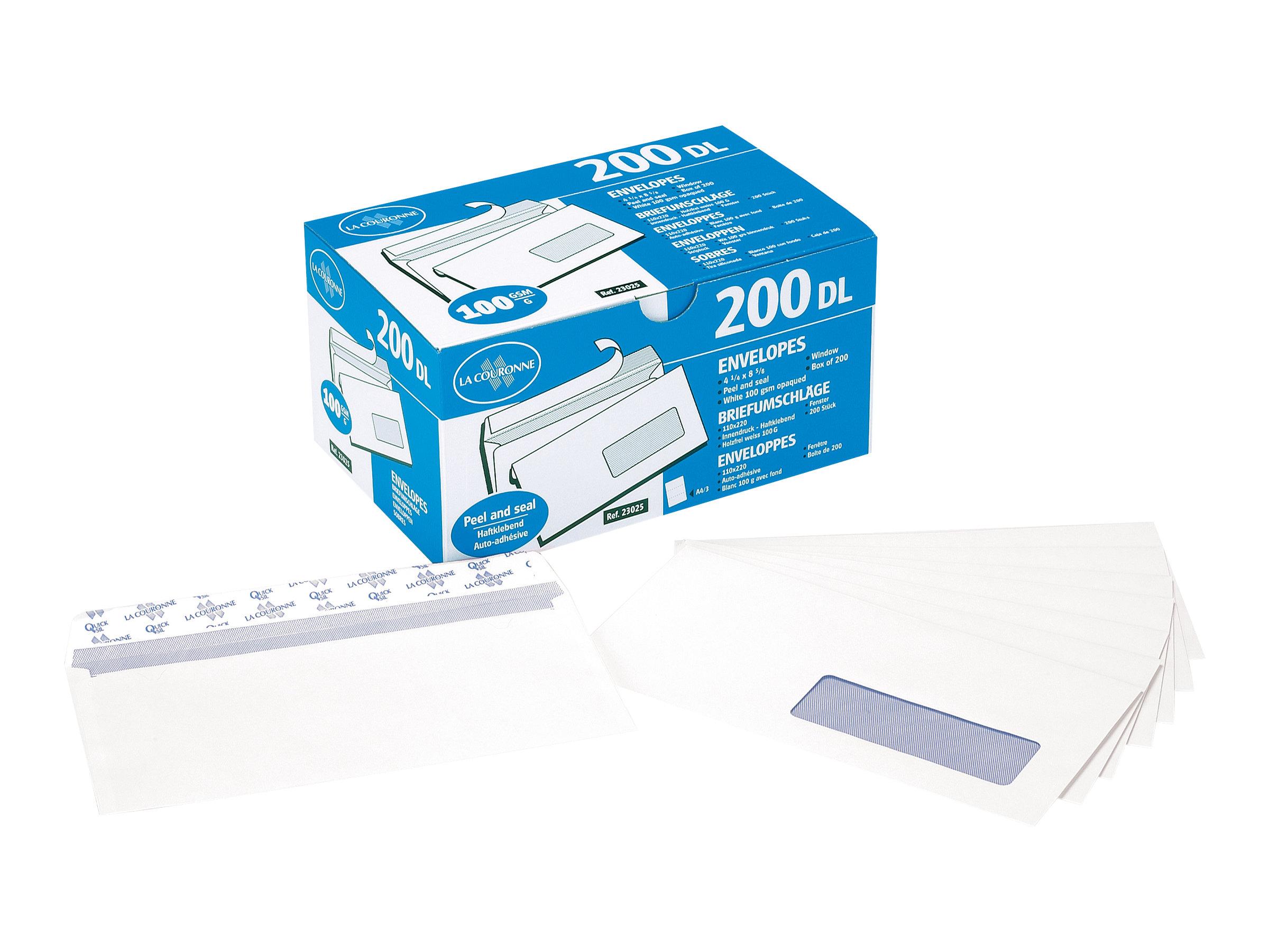 La Couronne - 200 Enveloppes C6 114 x 162 mm - 100 gr - blanc - sans fenêtre - bande auto-adhésive