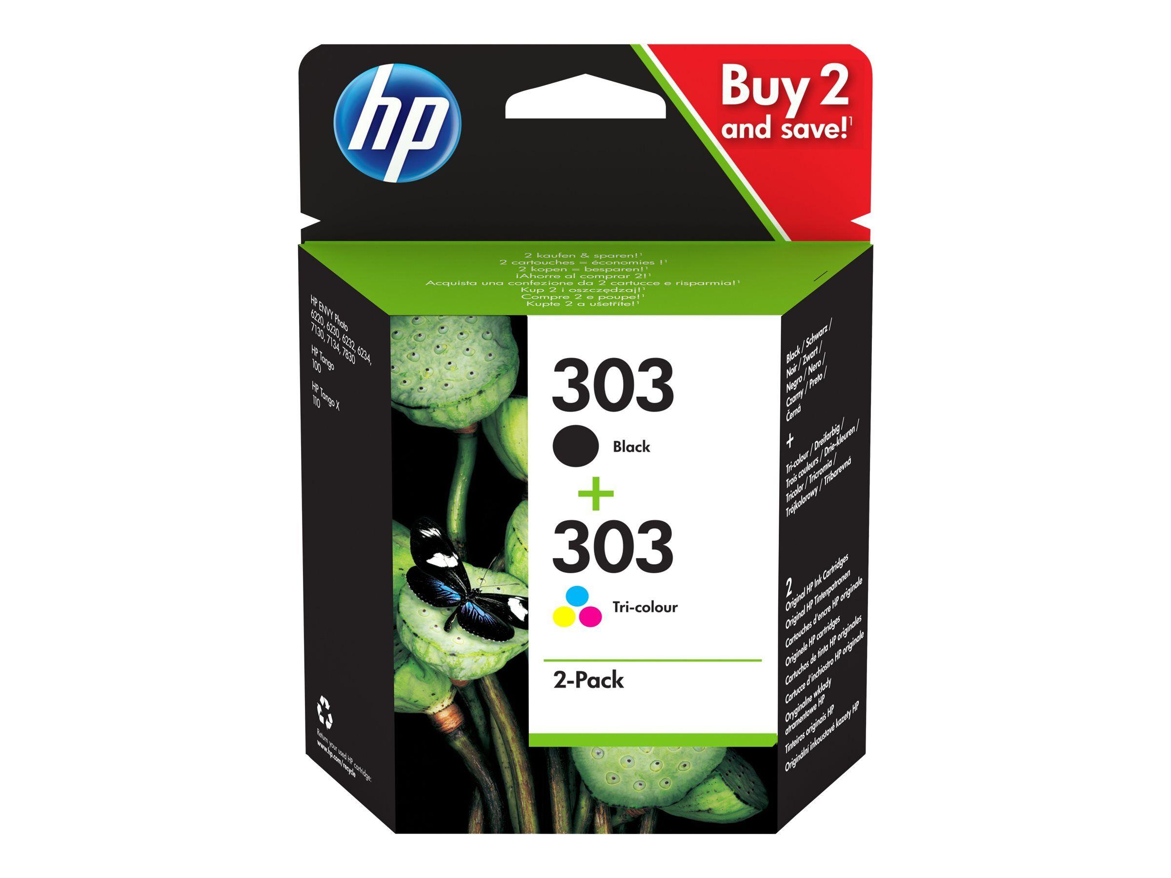 HP 303 - pack de 2 - noir, cyan, magenta, jaune - cartouche d'encre originale