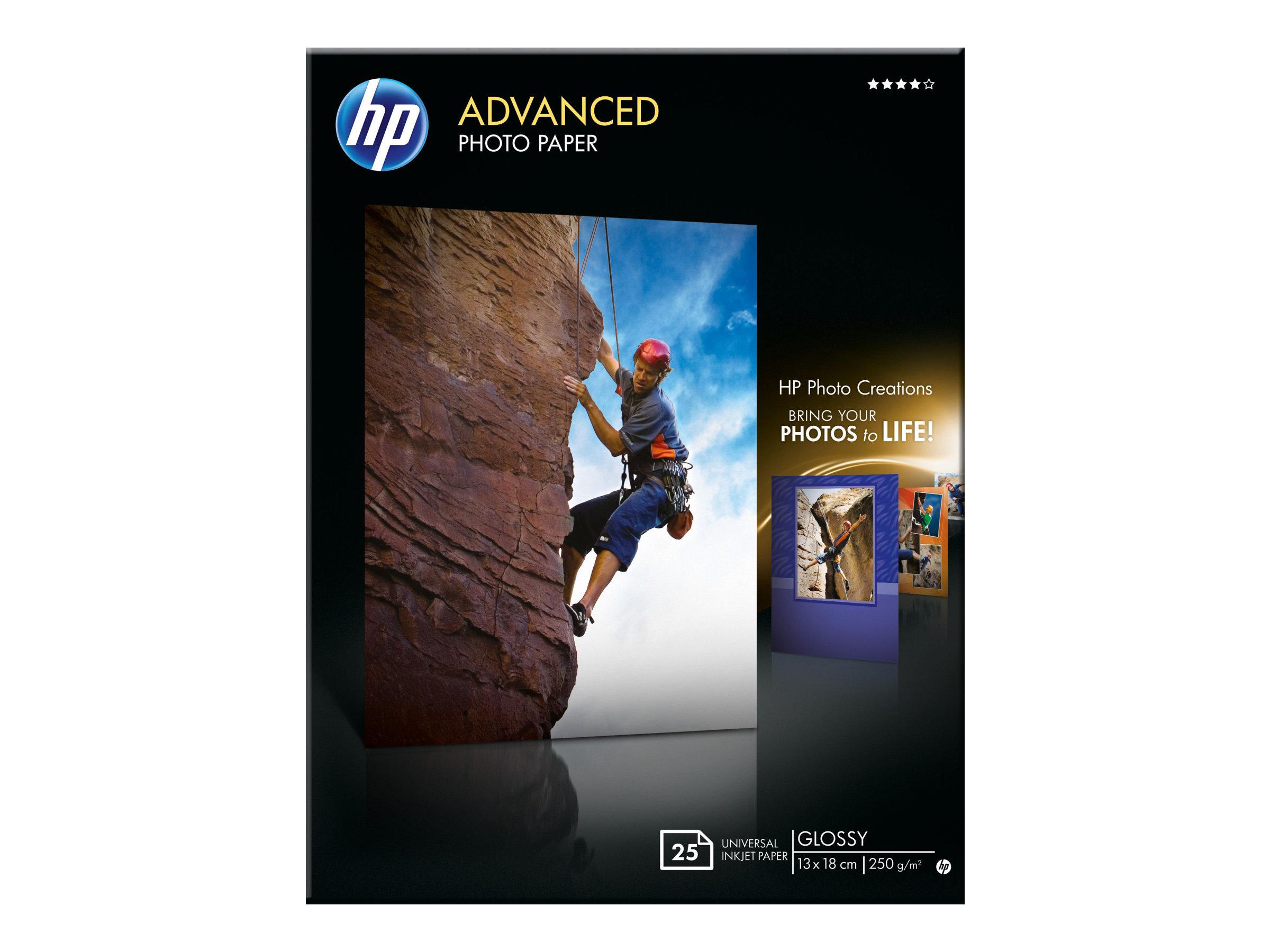 HP - Papier photo brillant - 13 x 18 cm - 250 g/m² - 25 feuilles