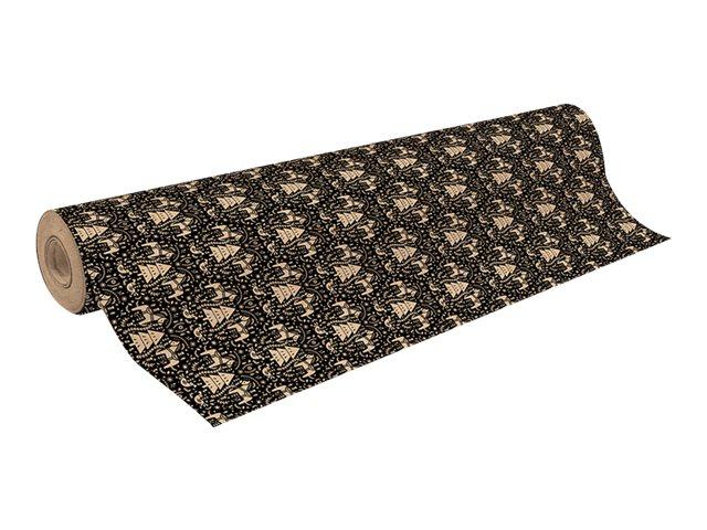 Clairefontaine - Papier cadeau kraft - 70 cm x 50 m - 70 g/m² - motif sapins fond noir