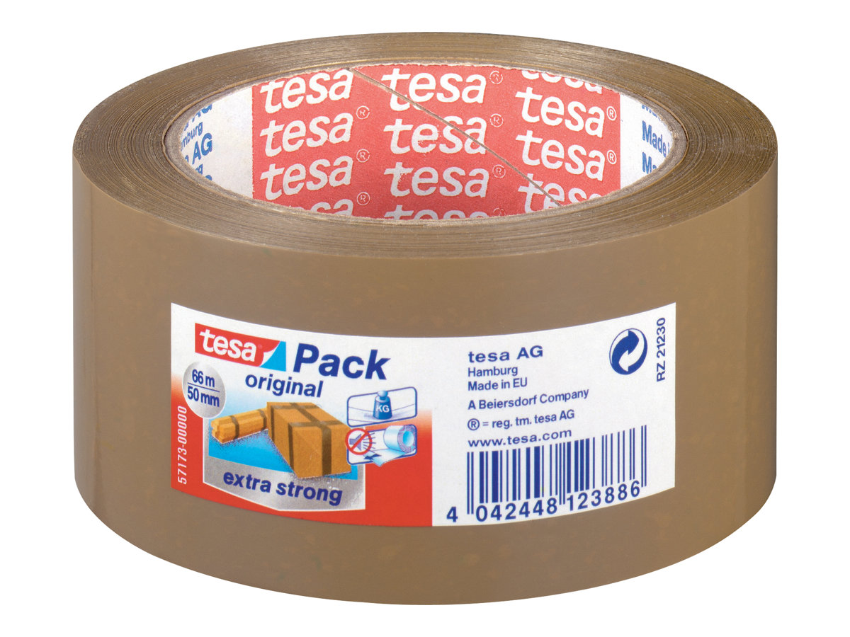 Tesapack Extra Strong - 6 Rubans adhésifs d'emballage - 50 mm x 66 m - havane