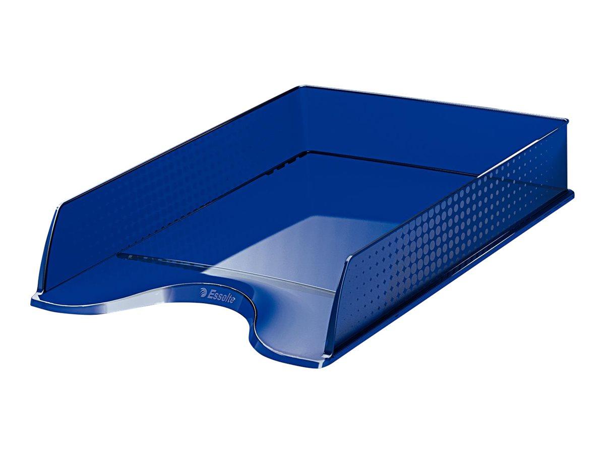 Esselte Fusion - Corbeille à courrier bleu foncé transparent