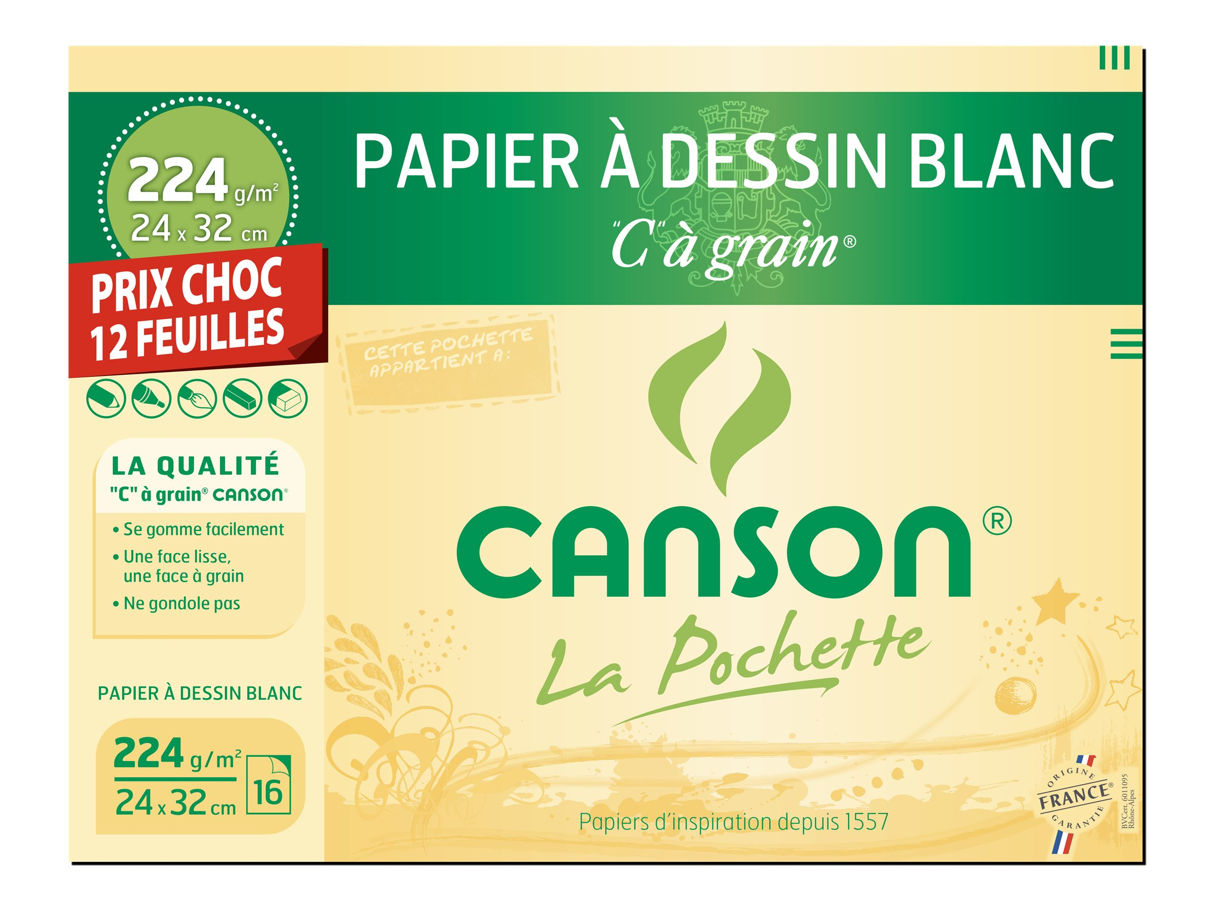Canson - C à Grain format spécial - pochette papier à dessin  - 12 feuilles - 24 x 32 cm - 224G - blanc