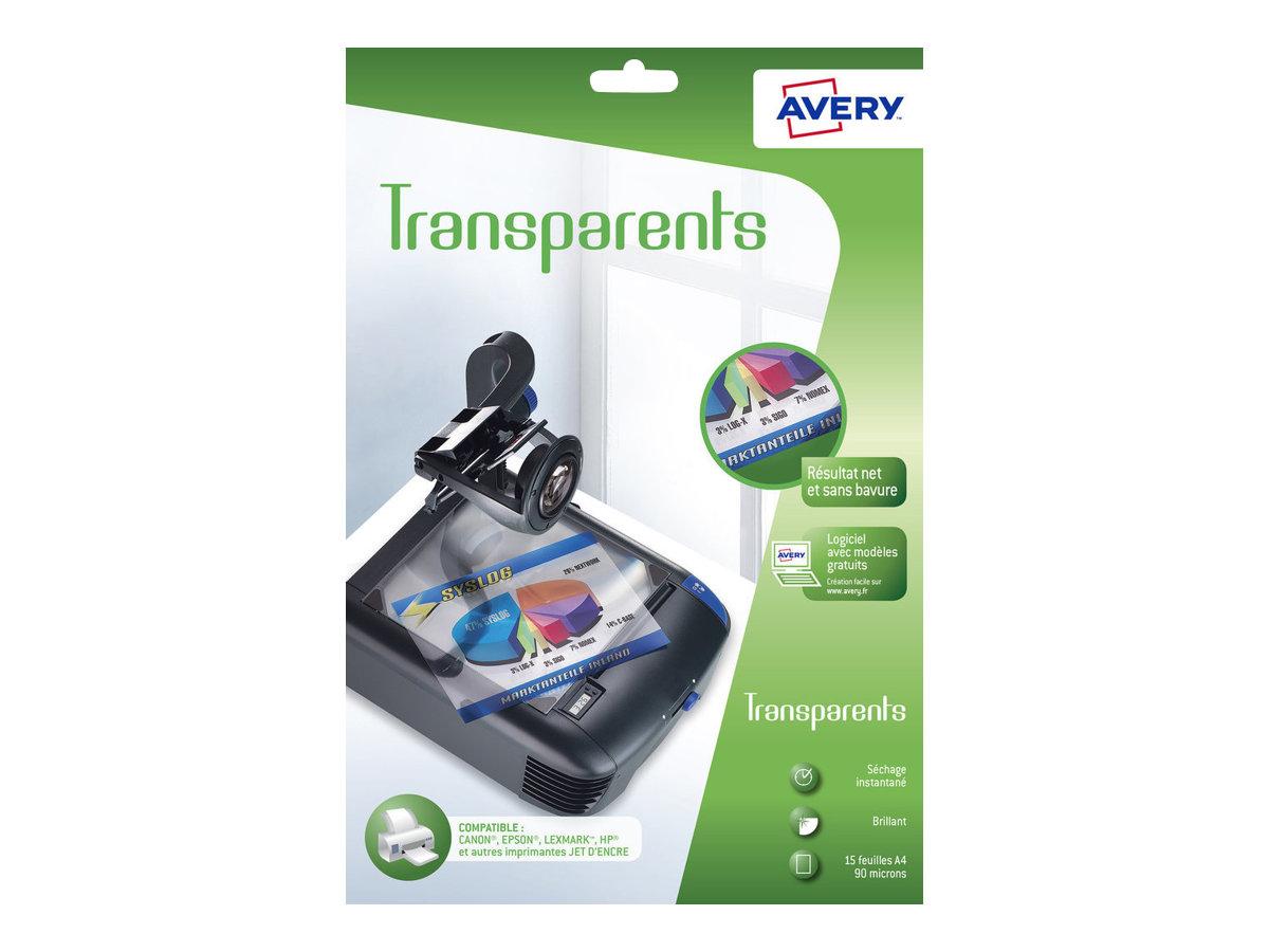 Avery - Films transparents pour rétroprojecteur - A4 - 15 feuilles - impression jet d'encre