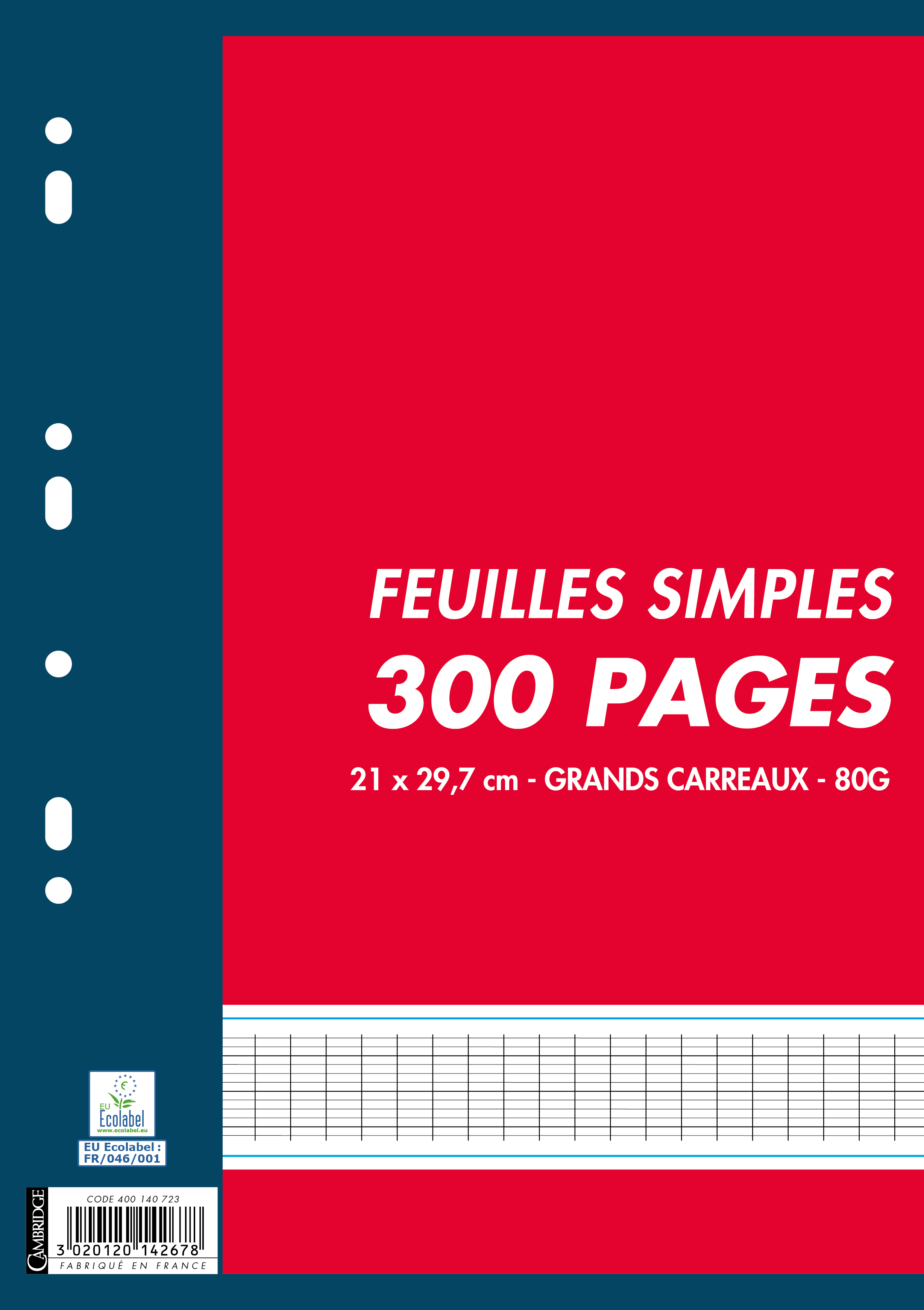 Cambridge - 300 feuilles simples A4 - grands carreaux - perforées
