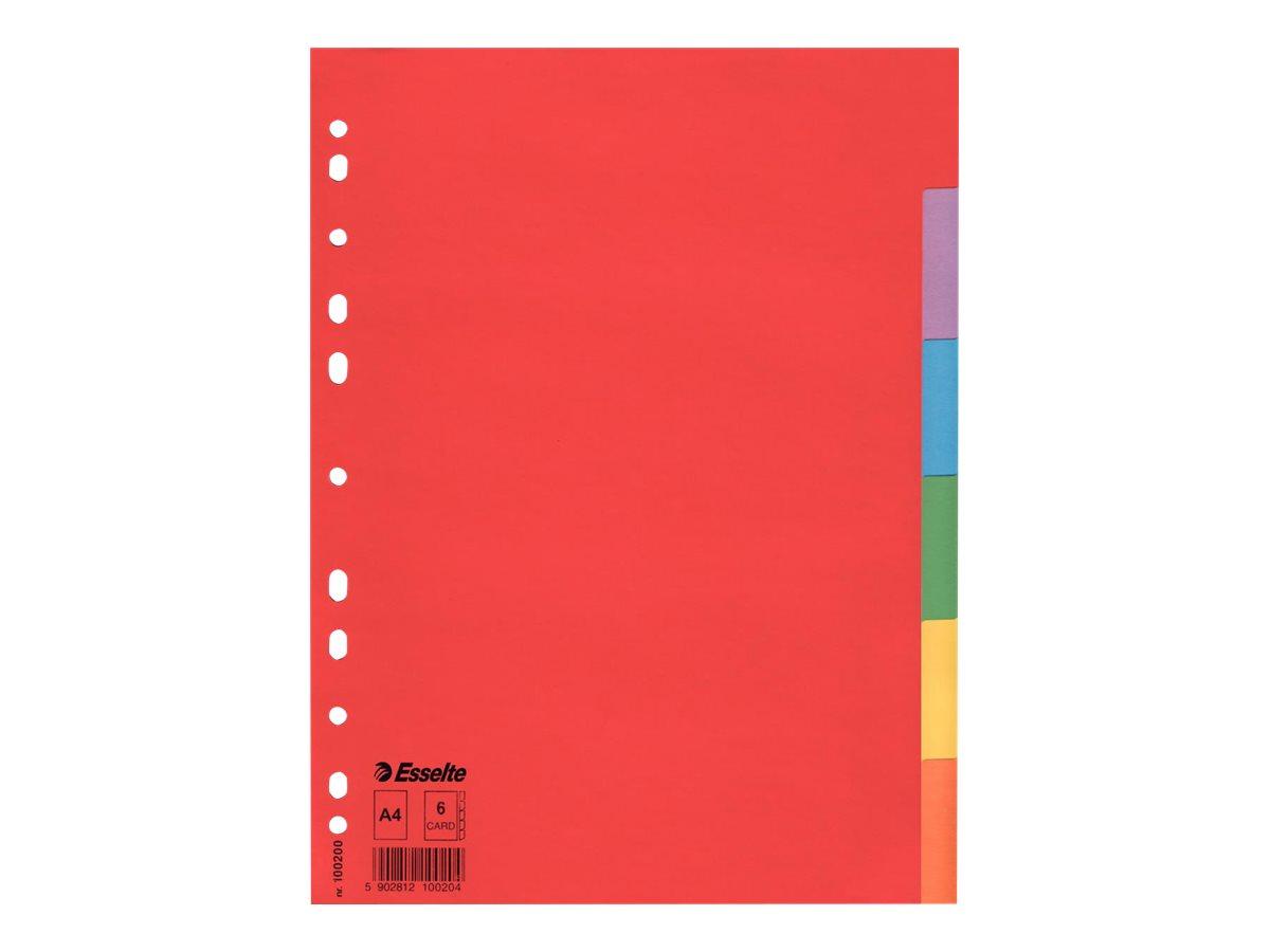 Esselte - Intercalaire 6 positions - A4 - carte recyclée colorée