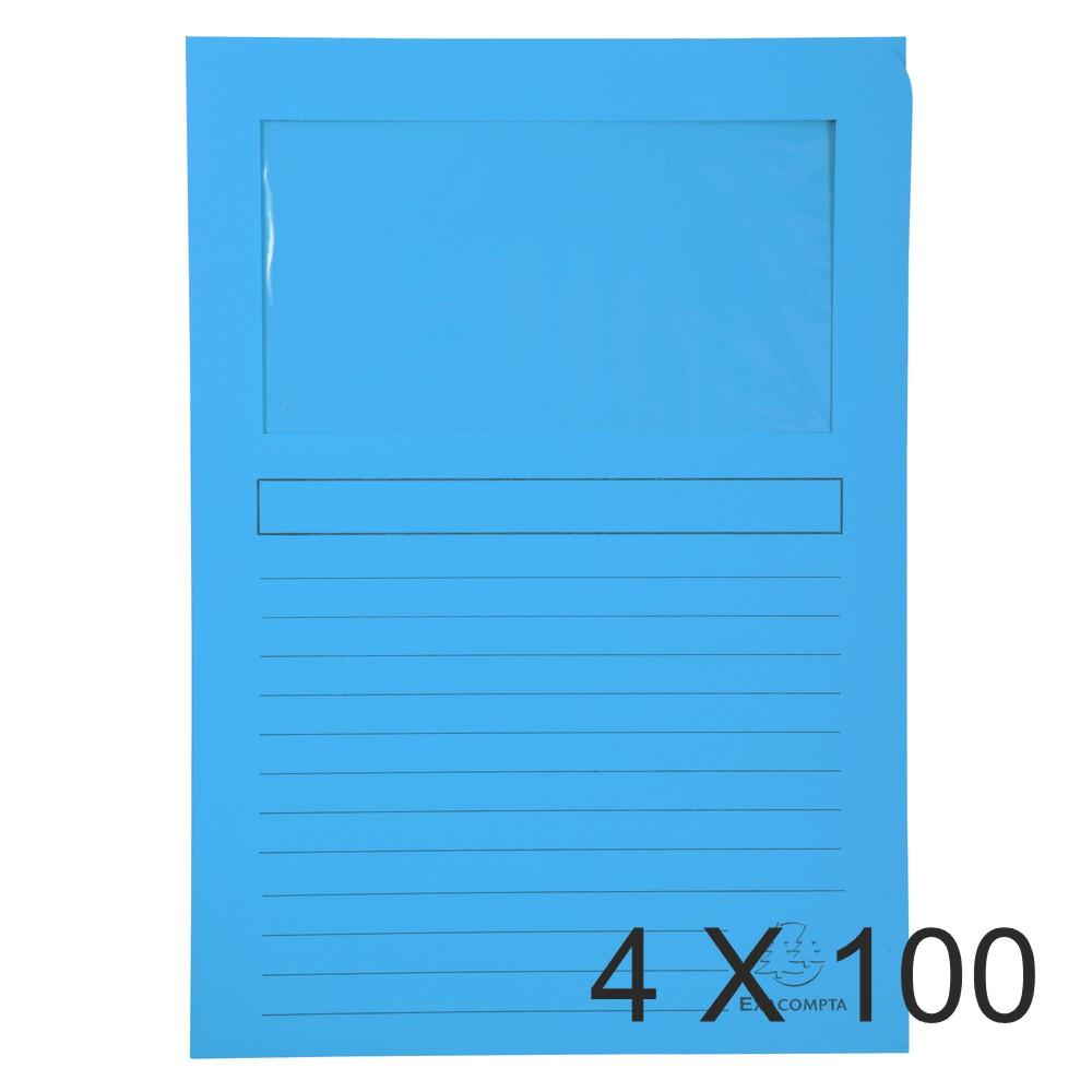Exacompta Super 160 - 4 Paquets de 100 Chemises à fenêtre - 160 gr - bleu vif