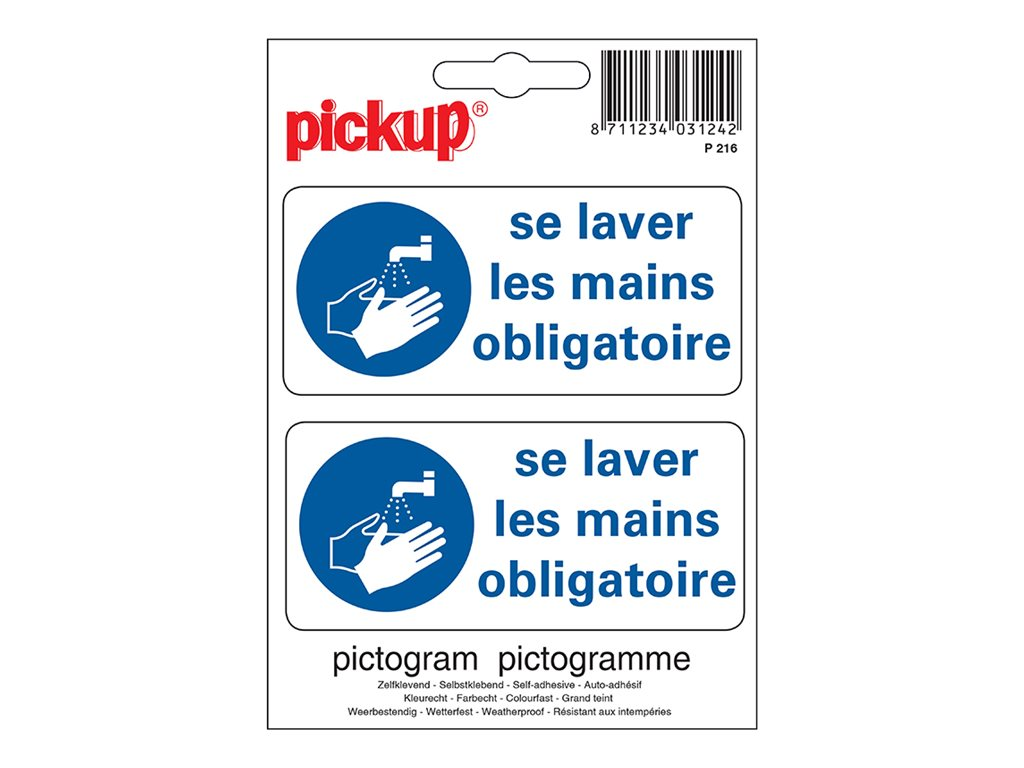 Pickup - Pictogramme - Obligation de se laver les mains avec décret - 100 x 100 mm