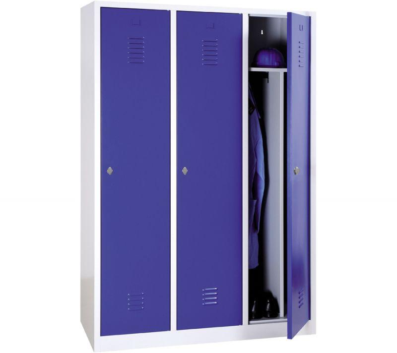 Vestiaire industrie salissante monobloc 3 colonnes - H180 x L120 x P50 cm - gris/bleu