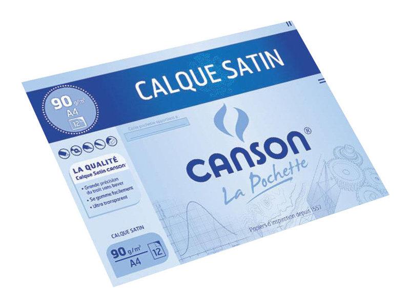 Canson - pochette papier à dessin  calque - 12 feuilles - A4 - 90G - blanc