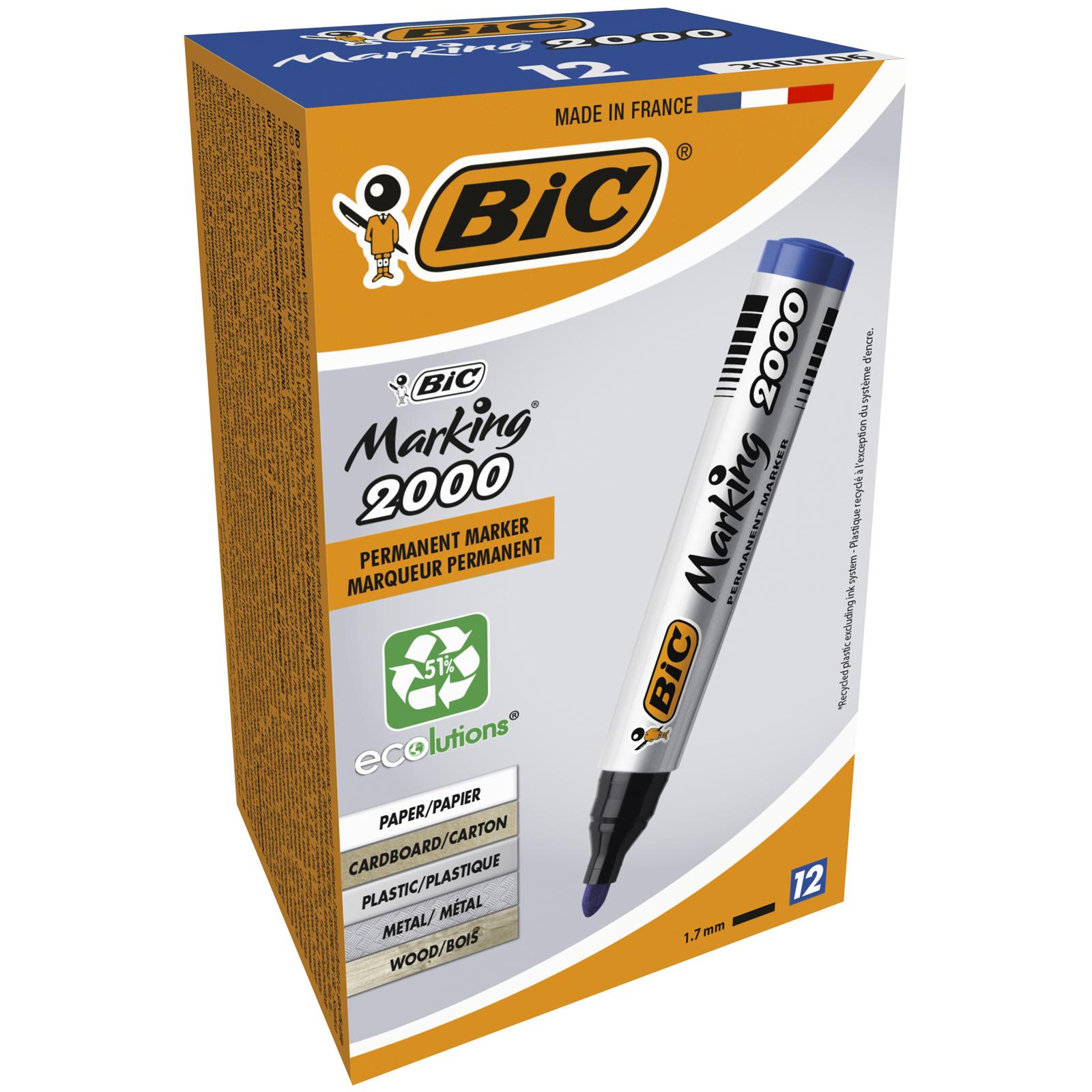 BIC MARKING 2000 - Pack de 12 marqueurs permanents - pointe ogive - bleu