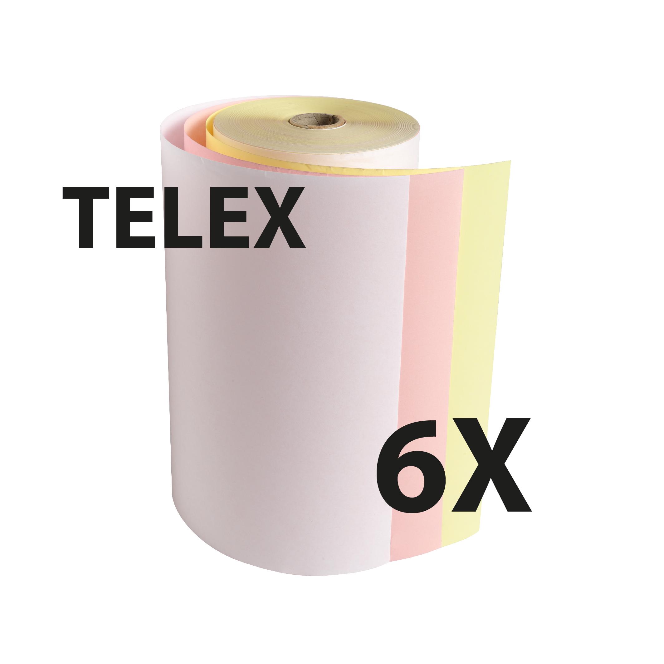 Exacompta - 6 Bobines Télex - 210 x 120 mm - 3 plis chimique autocopiant